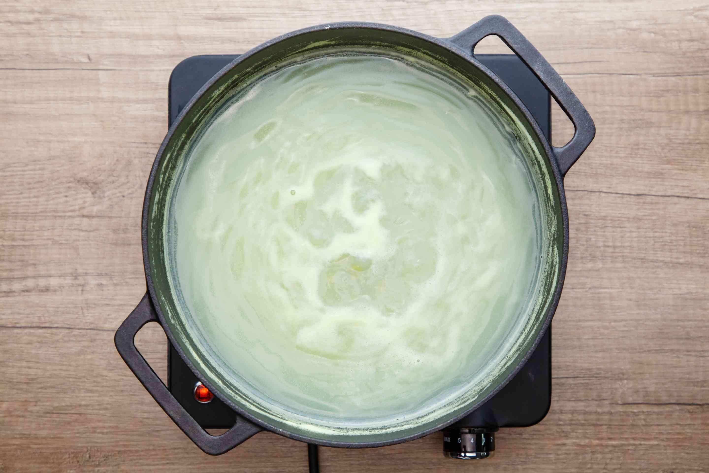 Bring peas to boil