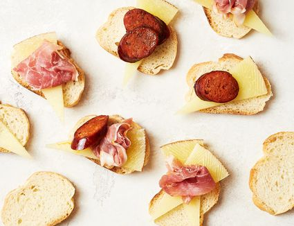 Ham, Cheese, and Chorizo Appetizer With Bread