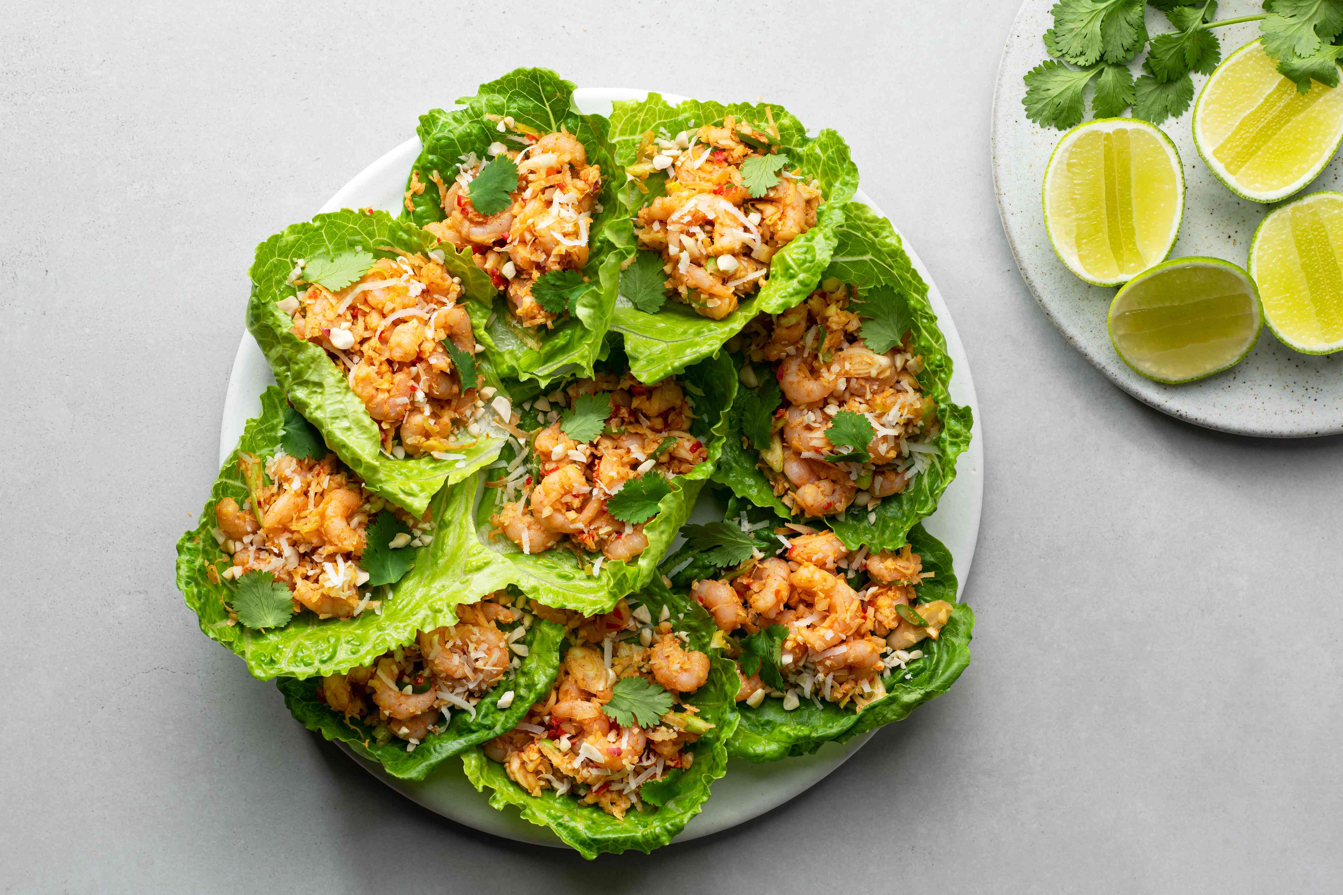 Thai Mini Shrimp Lettuce Wraps with lime on the side