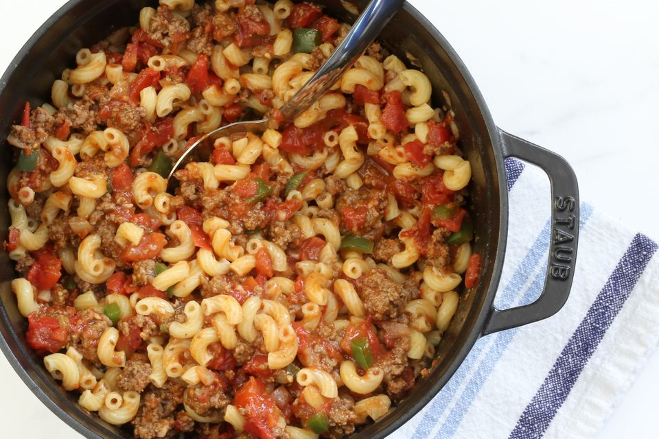 Combine the macaroni, tomatoes, and ground beef mixture