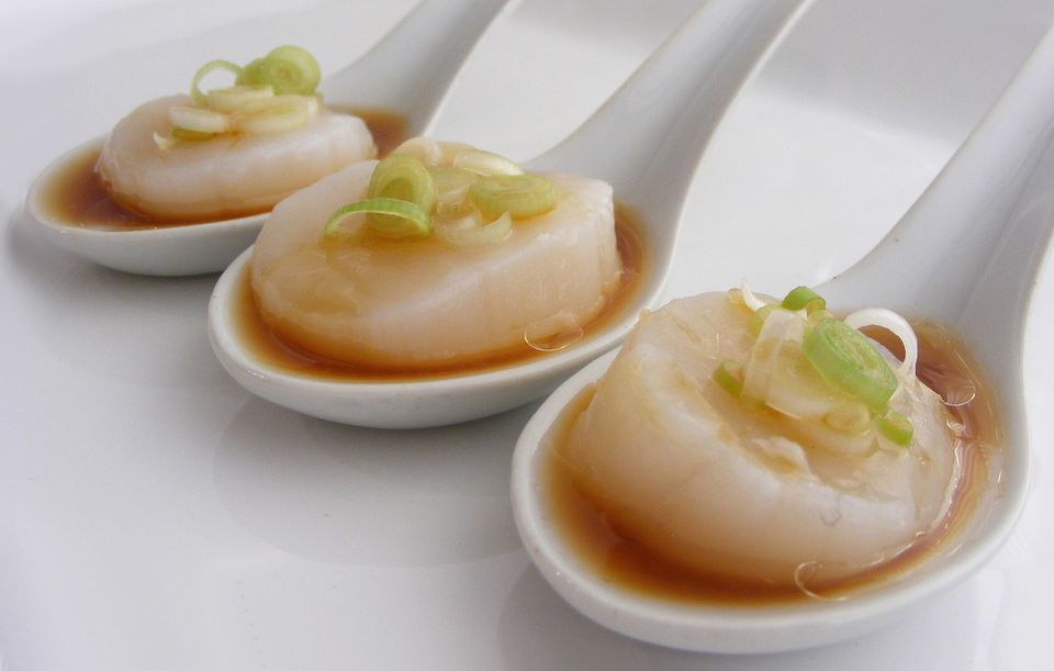 Scallops with soy dressing