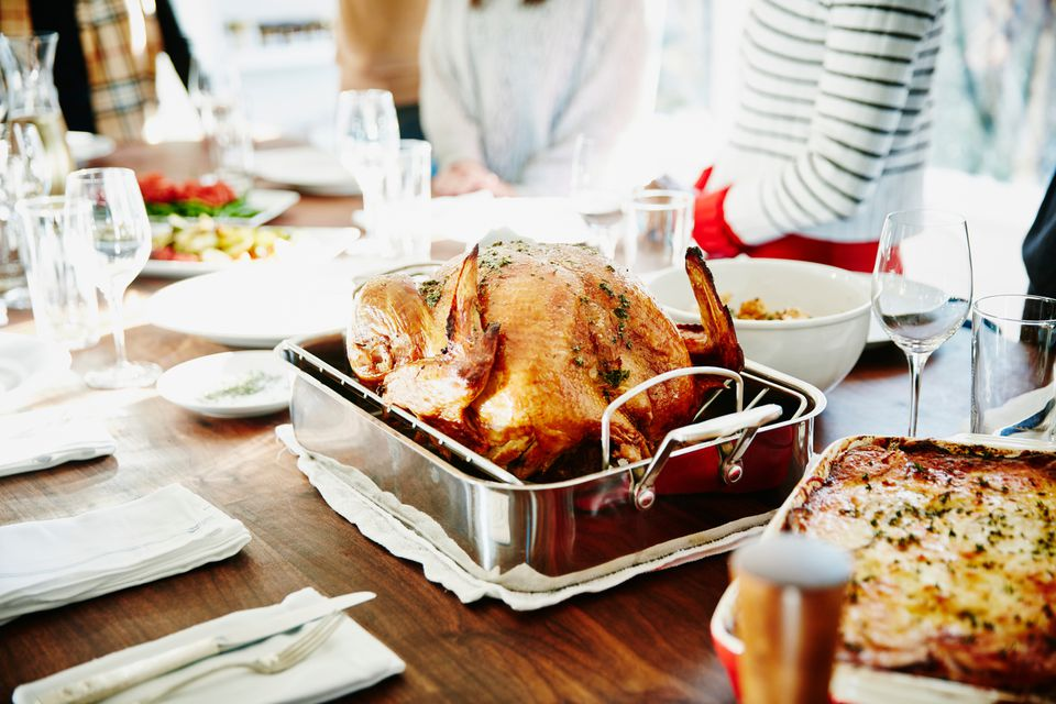 Turkey in a roasting pan for a festive holiday meal