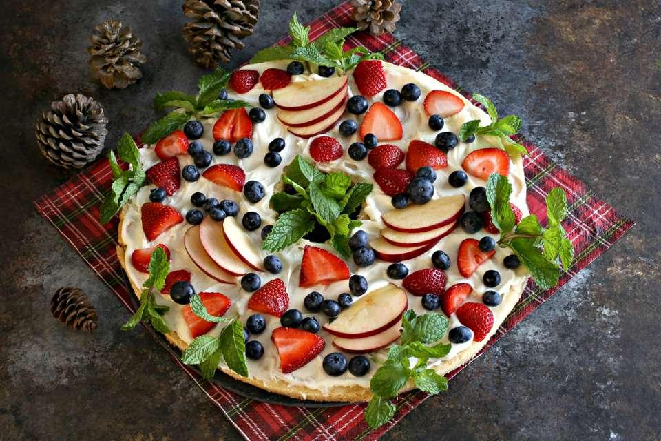 Corona de Navidad de Pizza de Frutas