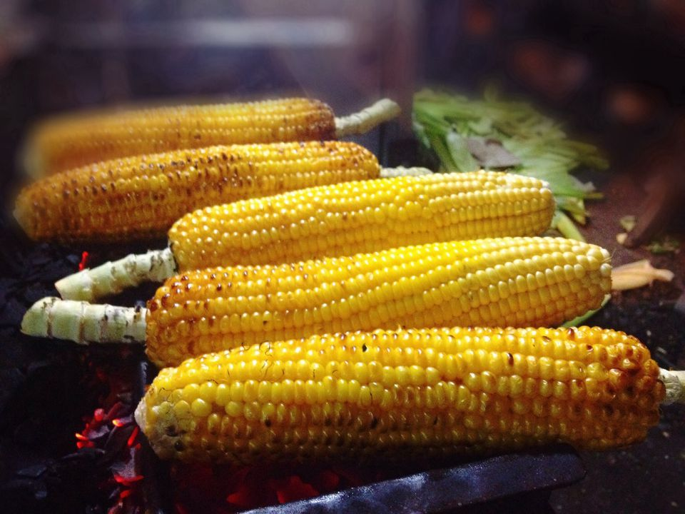 Corncobs On Barbecue