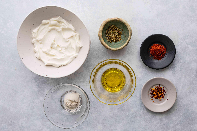 Ingredients for instant spiced yogurt flatbread