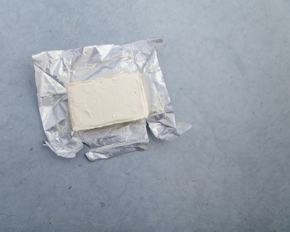 Cream cheese in open package