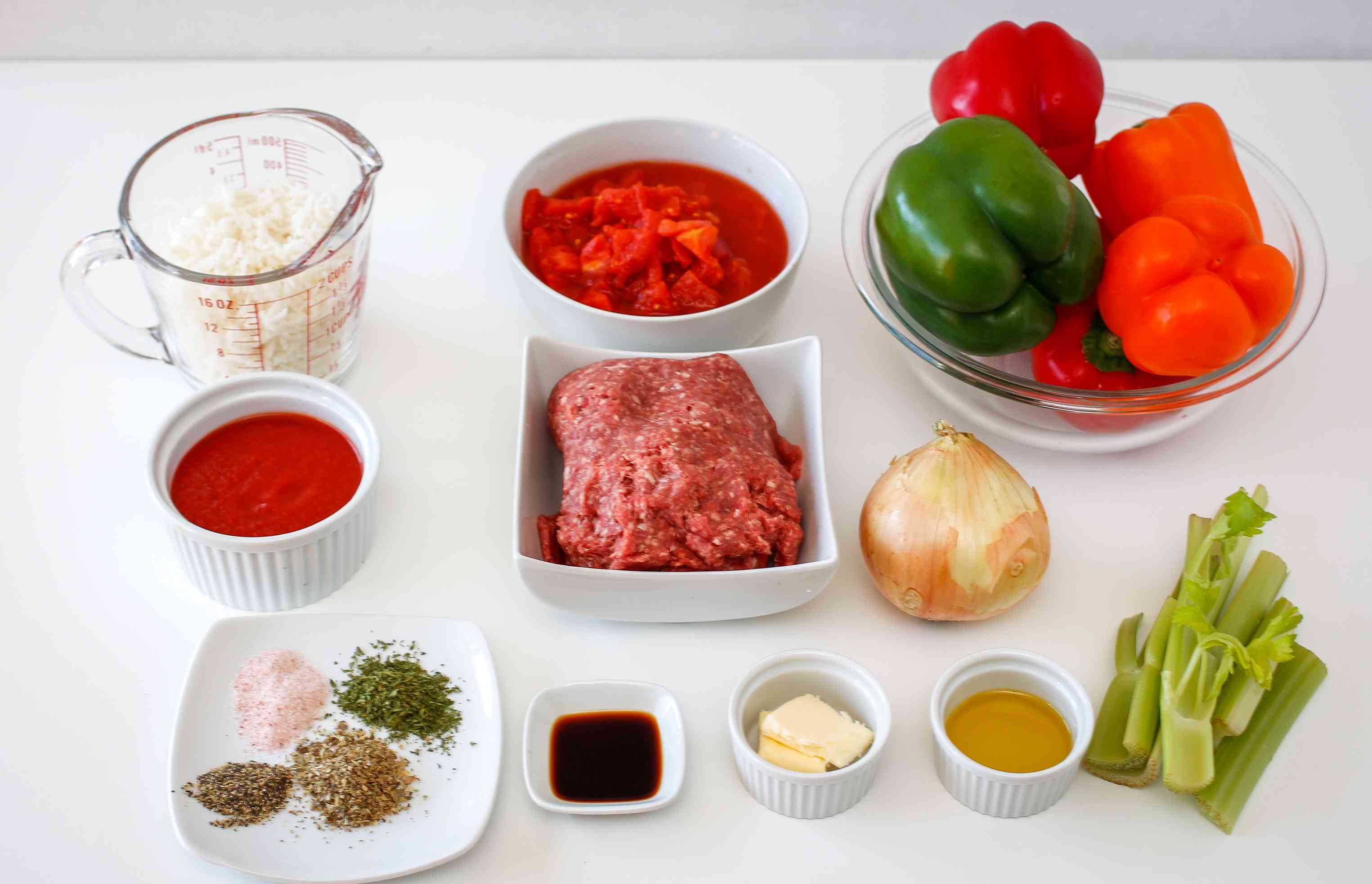 Ingredients for stuffed peppers with ground beef and rice