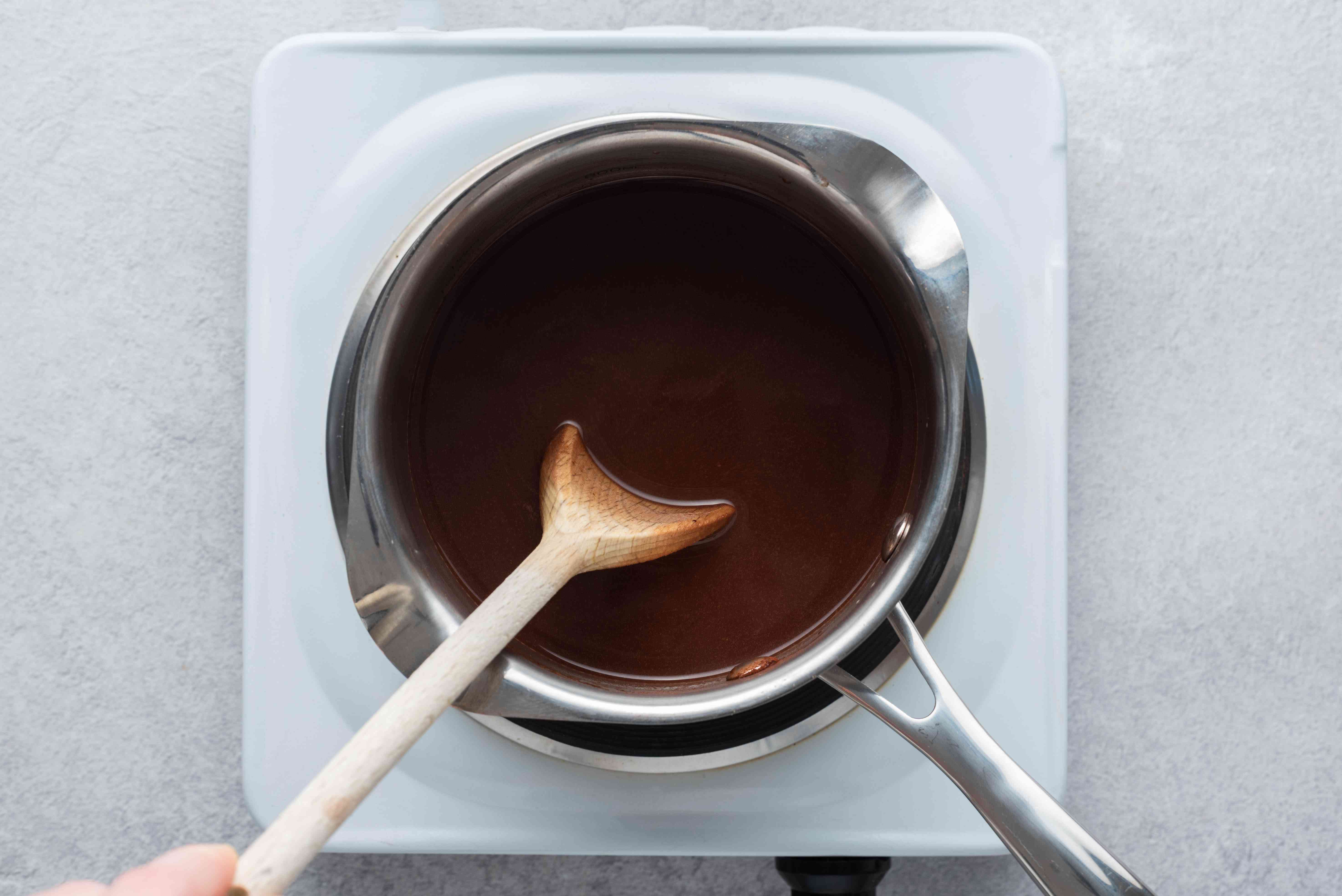 cook the almond milk and cocoa mixture in the saucepan