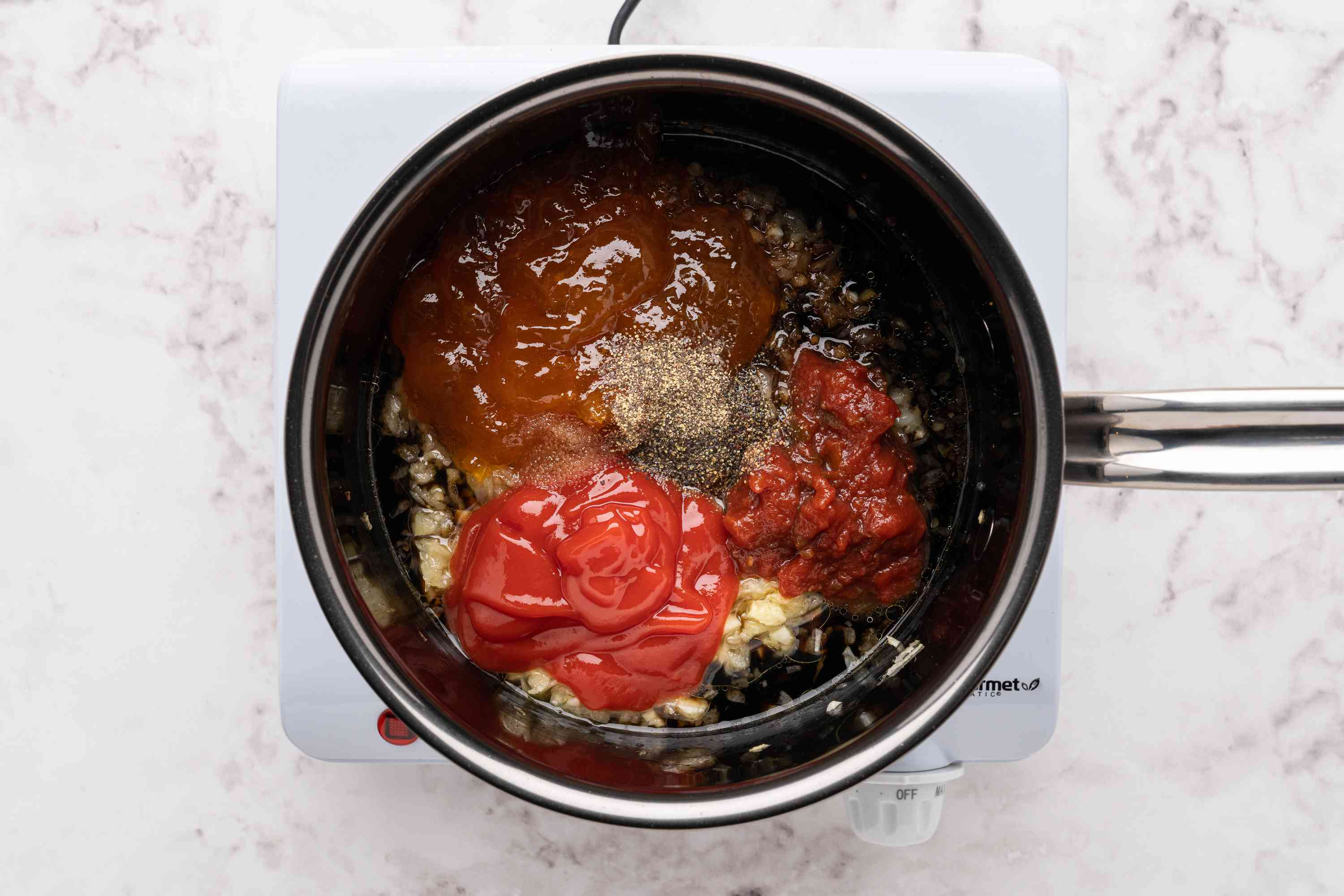 apricot chili glaze ingredients in a saucepan