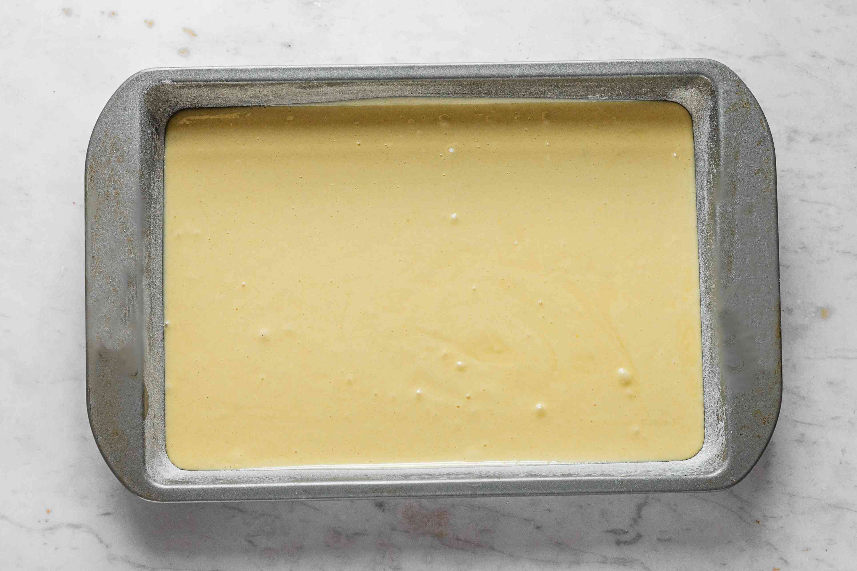 Cake batter in a baking dish