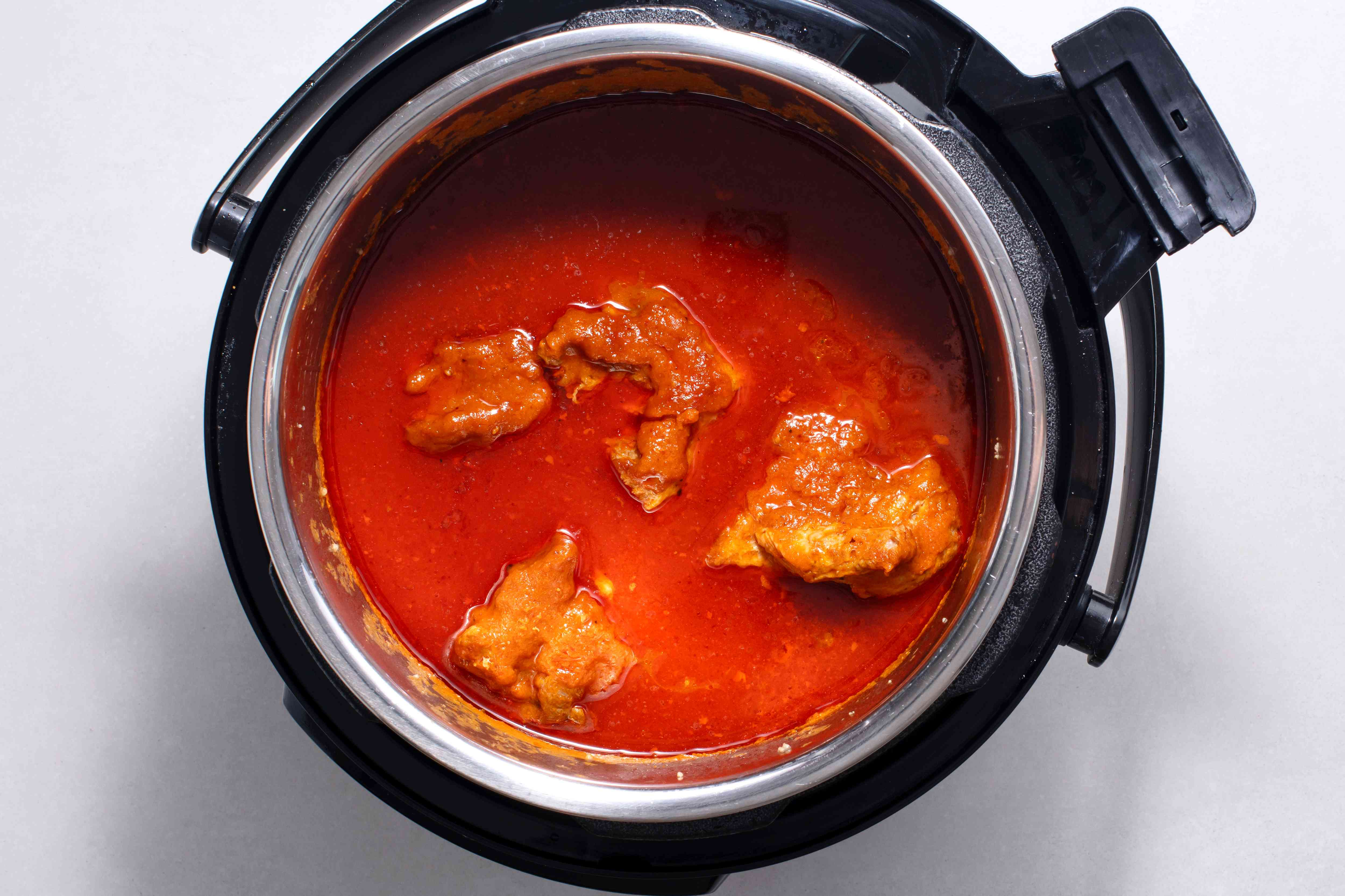 pork and sauce in the instant pot