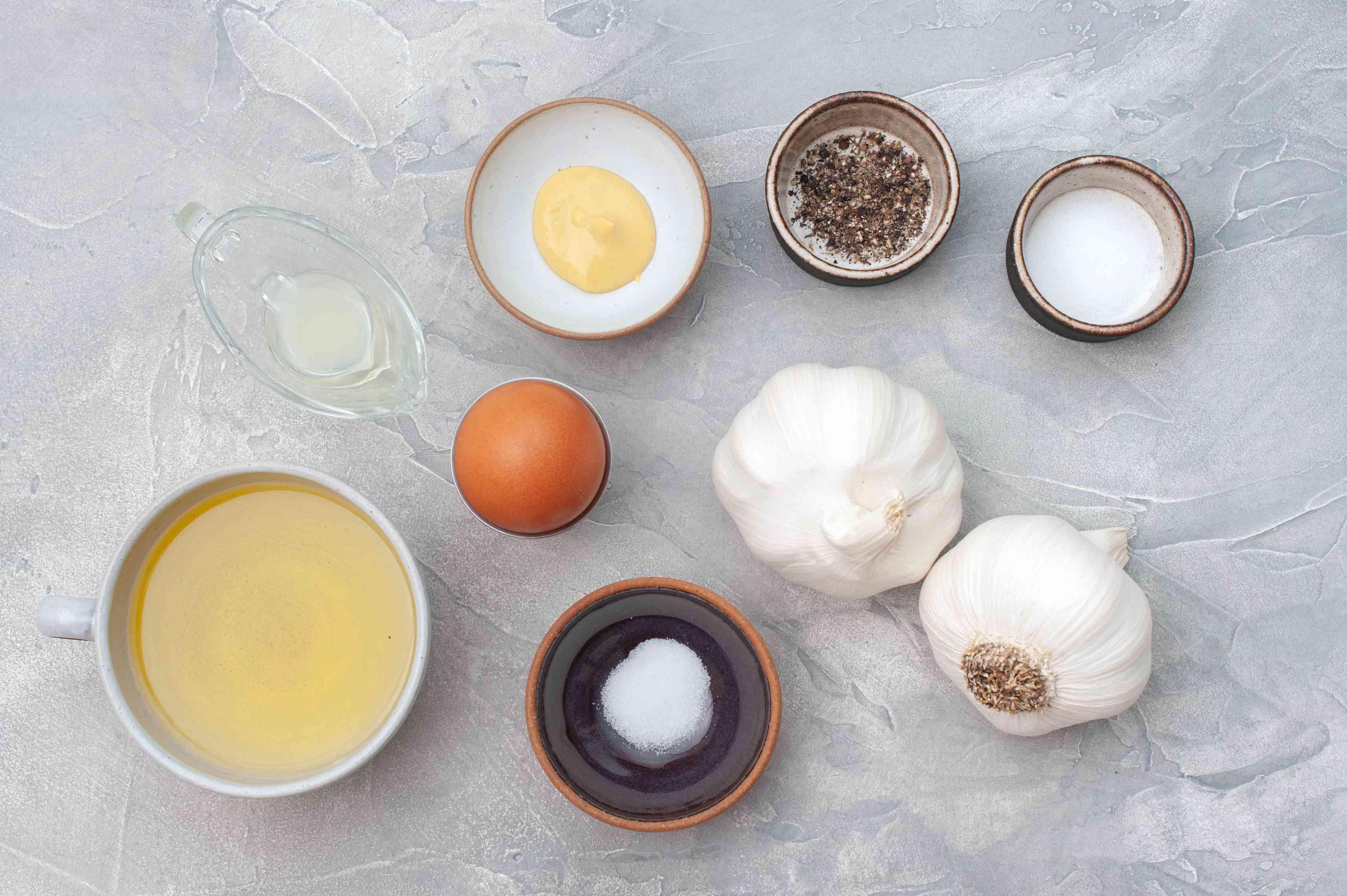 Ingredients for garlic aioli