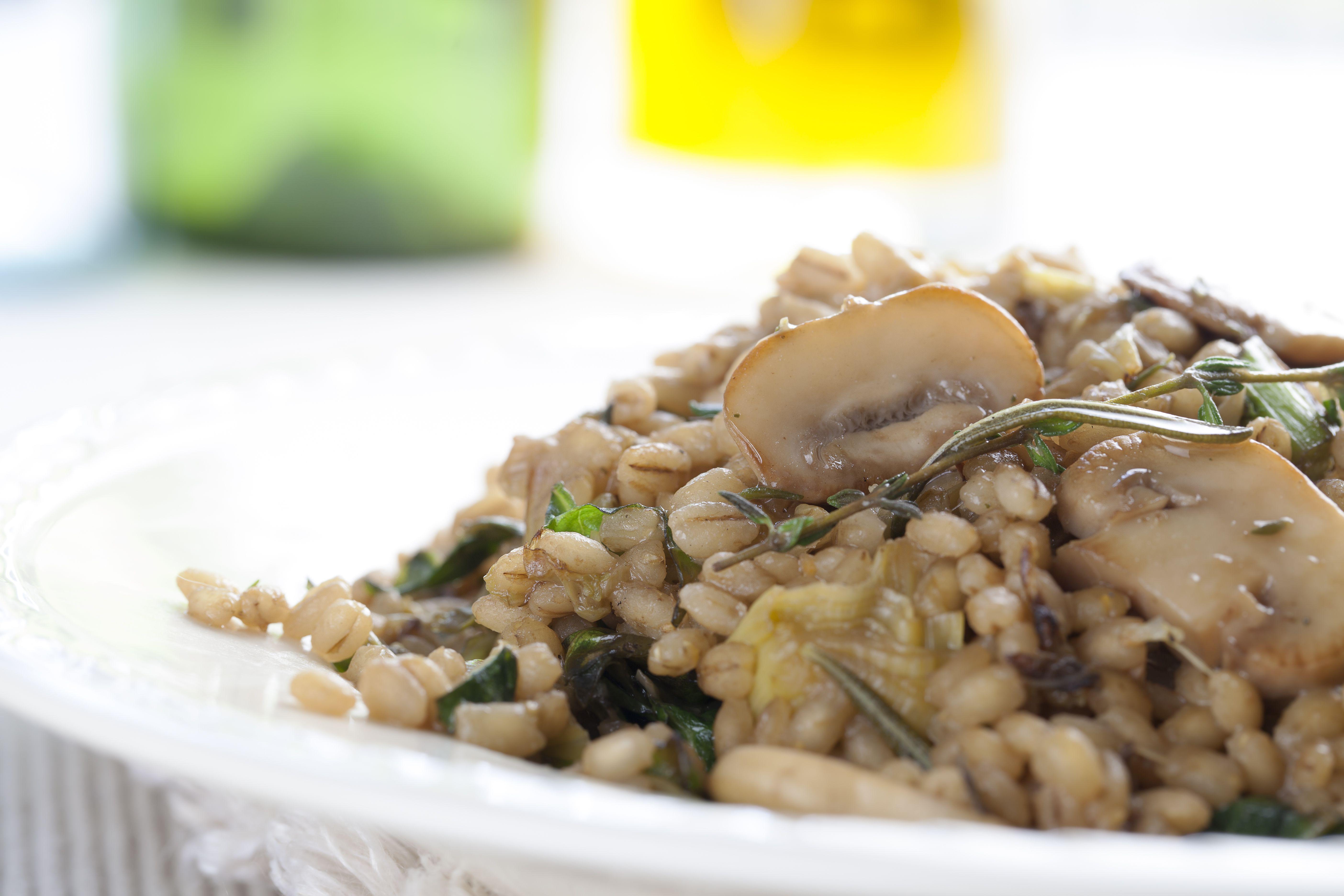 Closeup Mushroom Barley Meal