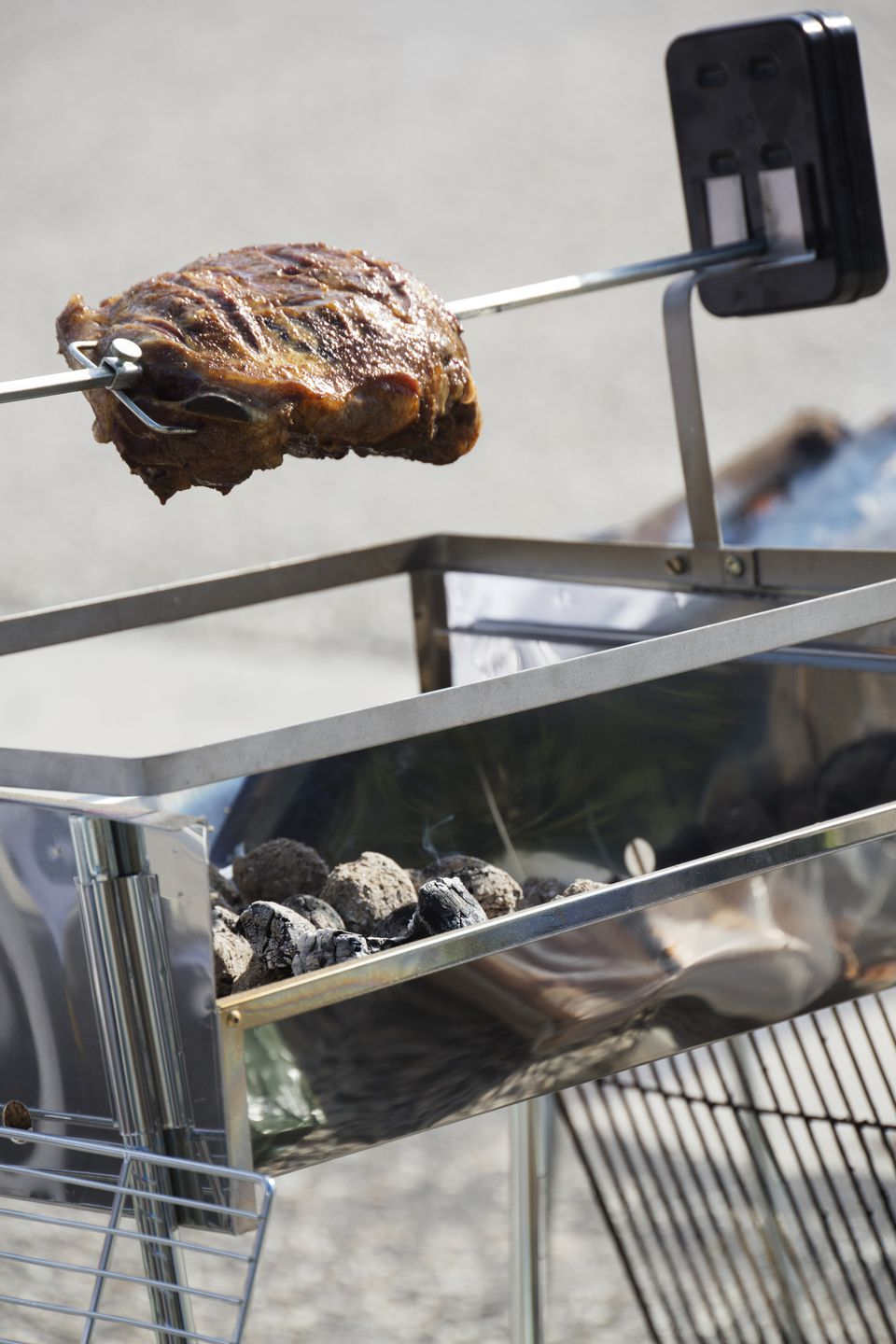 A leg of lamb on a spit