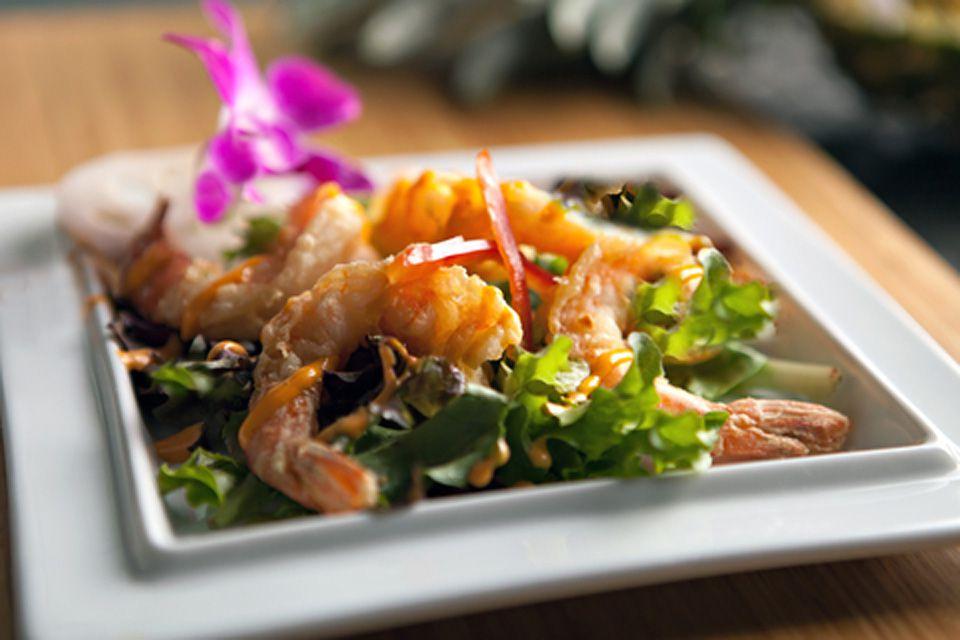 Thai shrimp salad with coconut-chili dressing