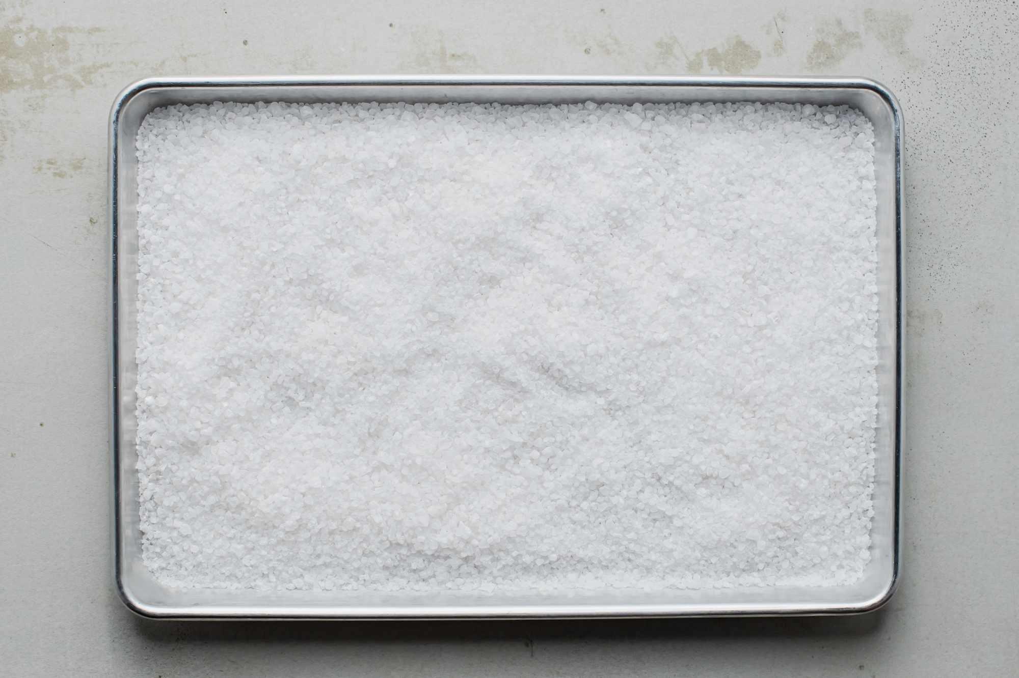 Rock salt in a pan
