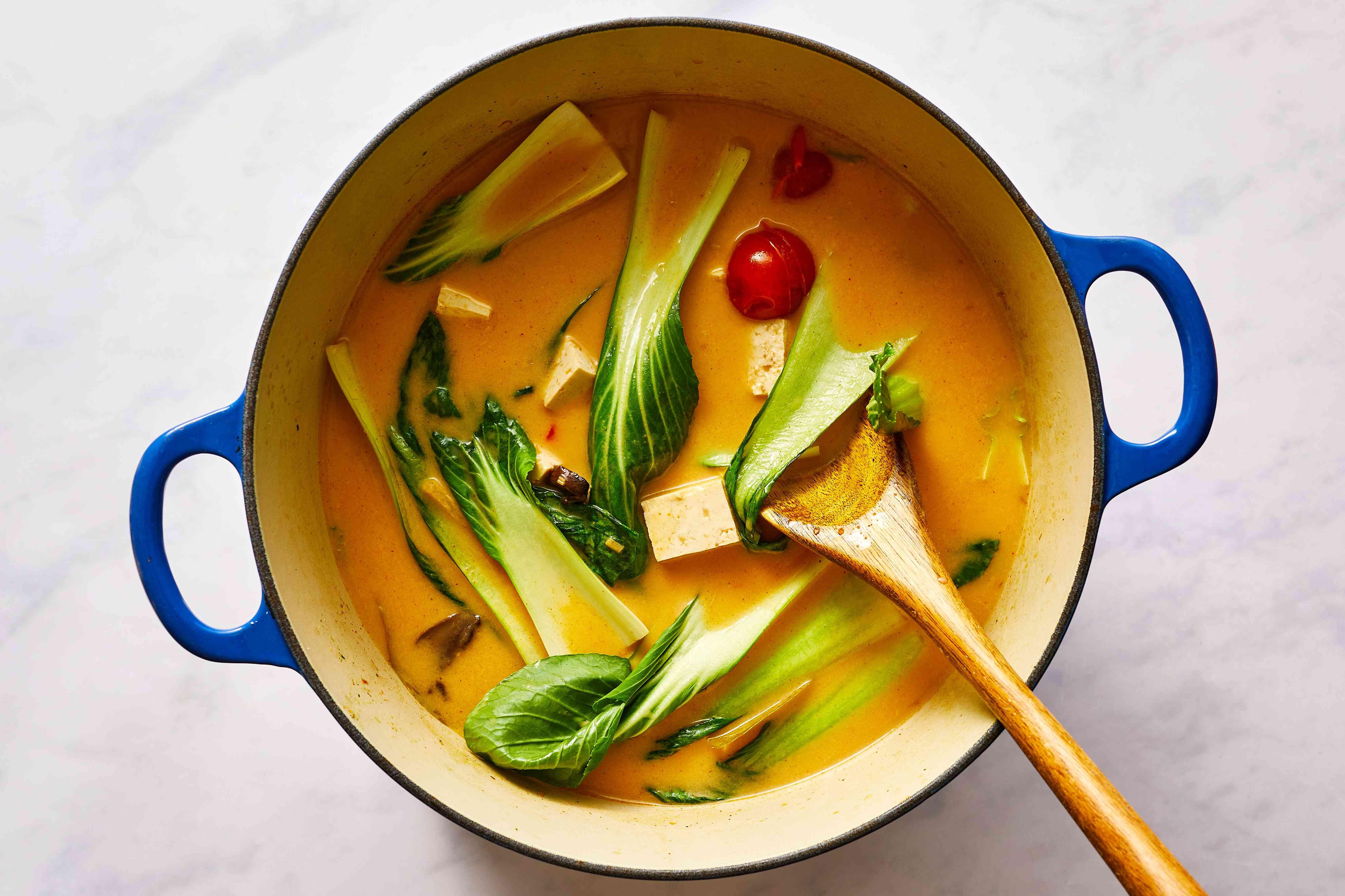 Vegetarian Tom Yum Soup in a pot