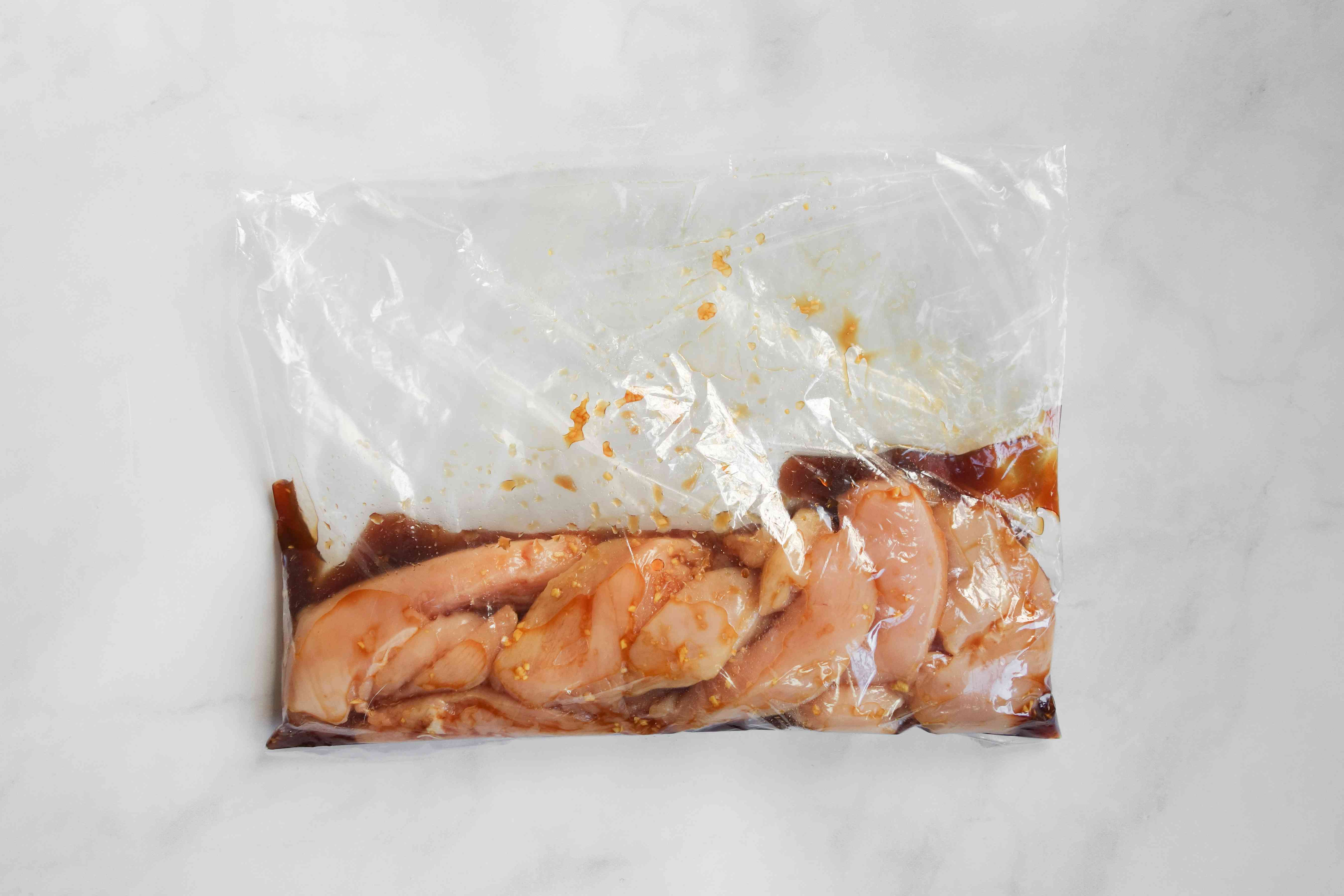 chicken and marinade in a plastic bag