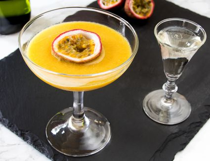 Pornstar Martini Cocktail With Passion Fruit Garnish