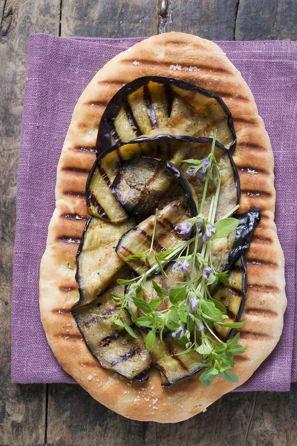 Grilled Eggplant Flatbread With Goat Cheese Vinaigrette