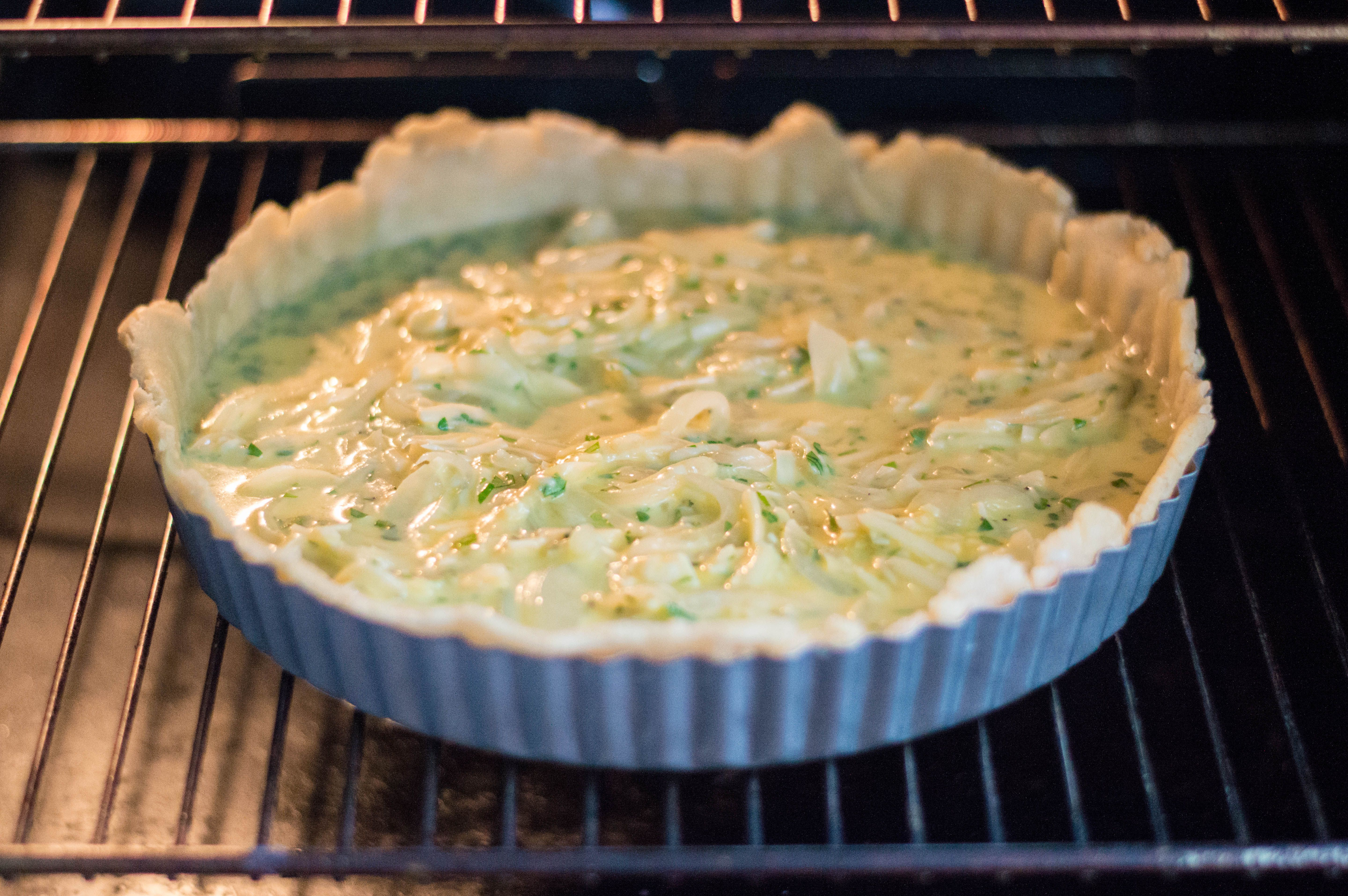 Cheese and onion flan in the oven