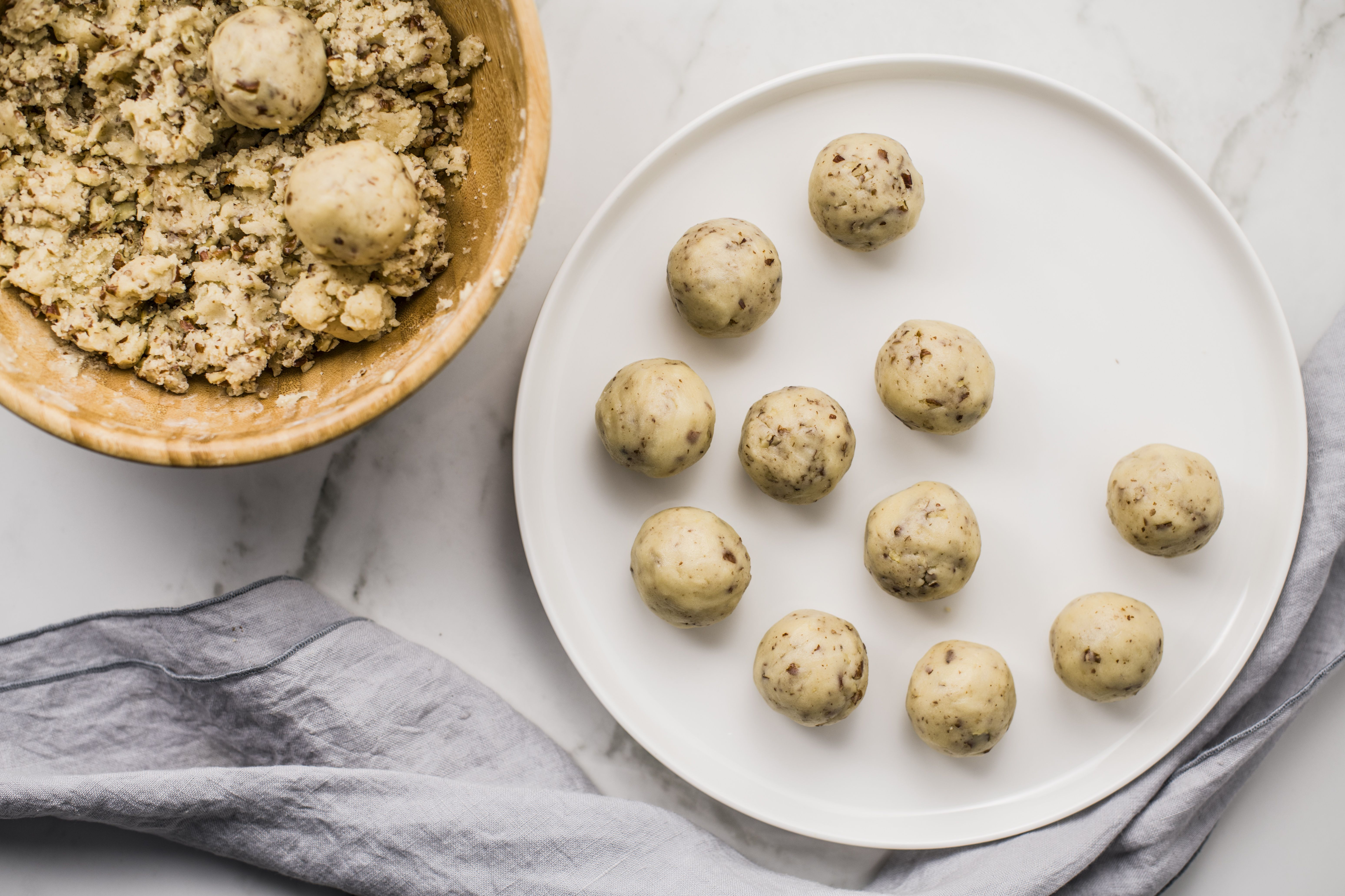 Pecan Butterball Cookies dough rolled into balls