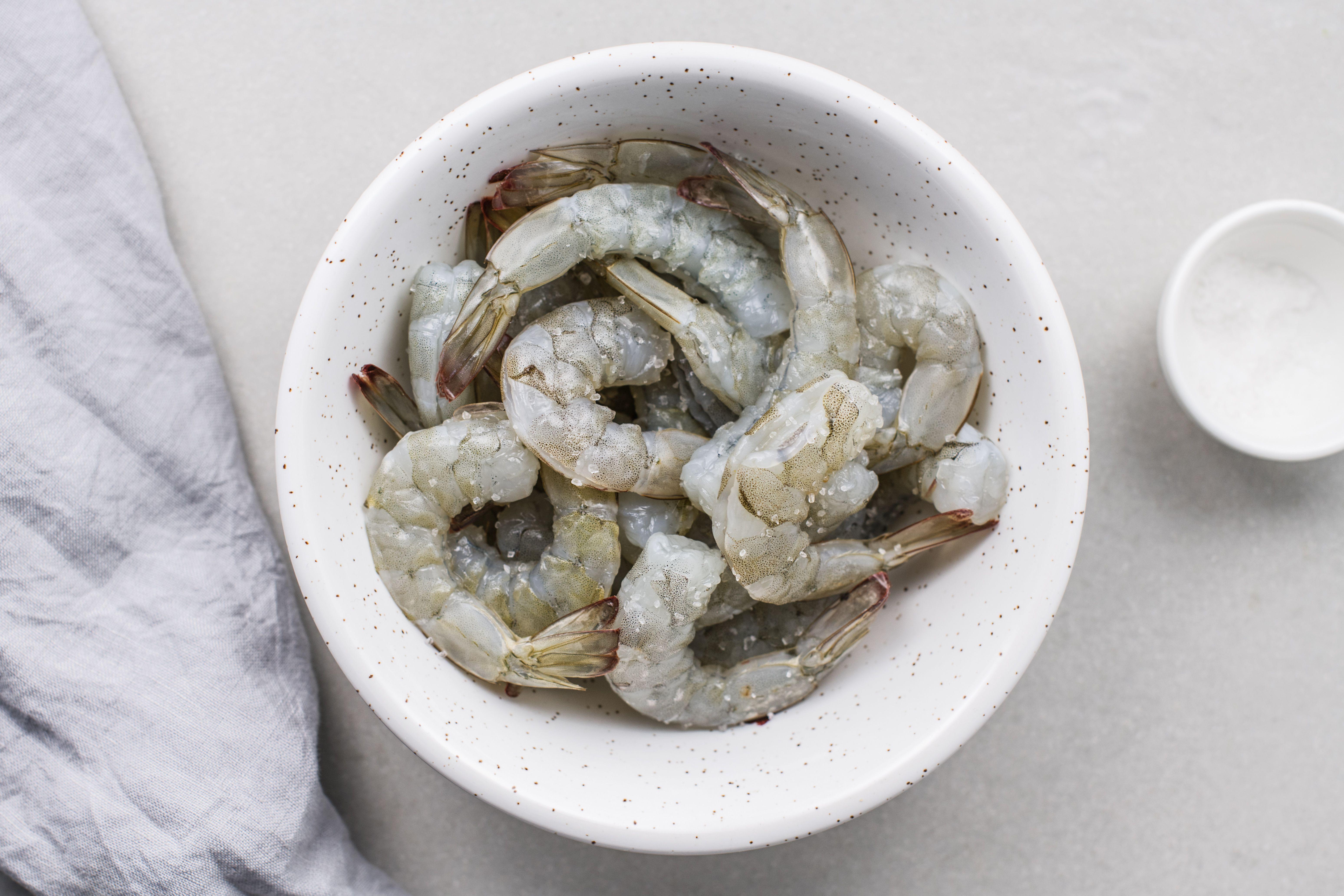 sprinkle shrimp lightly with salt for the Panko-Fried Shrimp Recipe