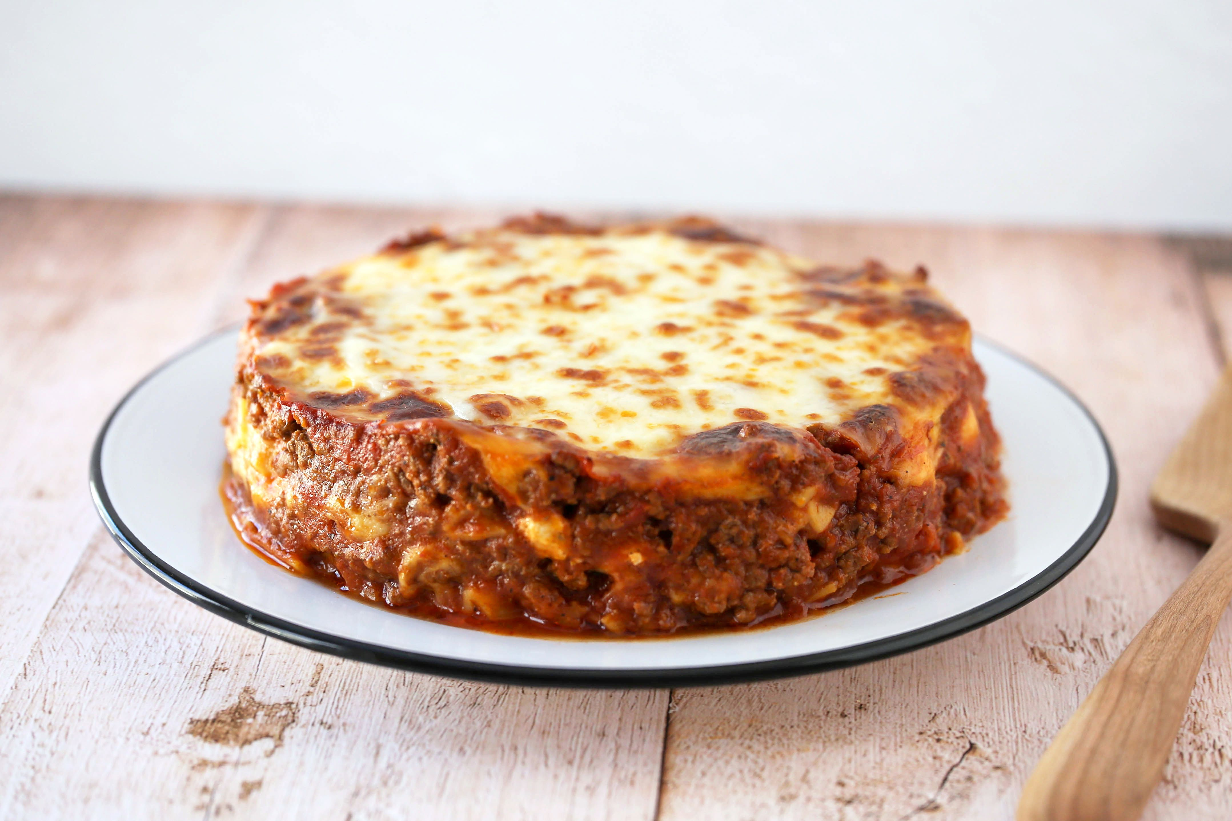 Move the lasagna to a serving plate.
