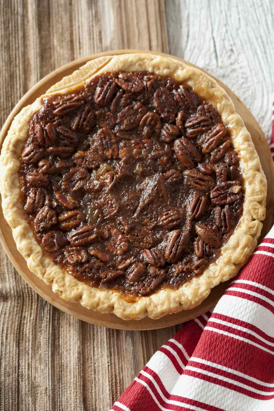 Pecan pie on tablecloth