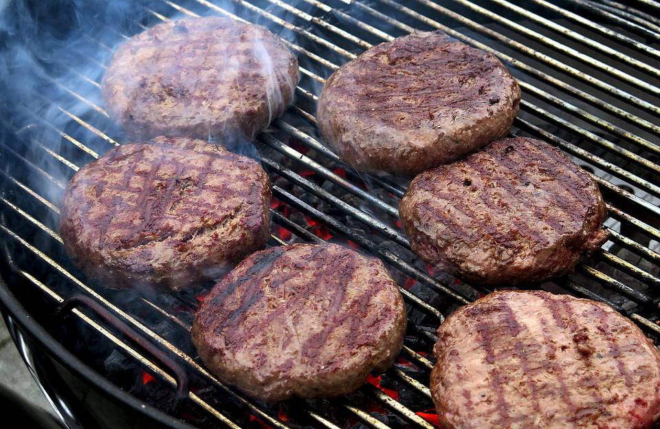 Stuffed Hamburgers on a Grill
