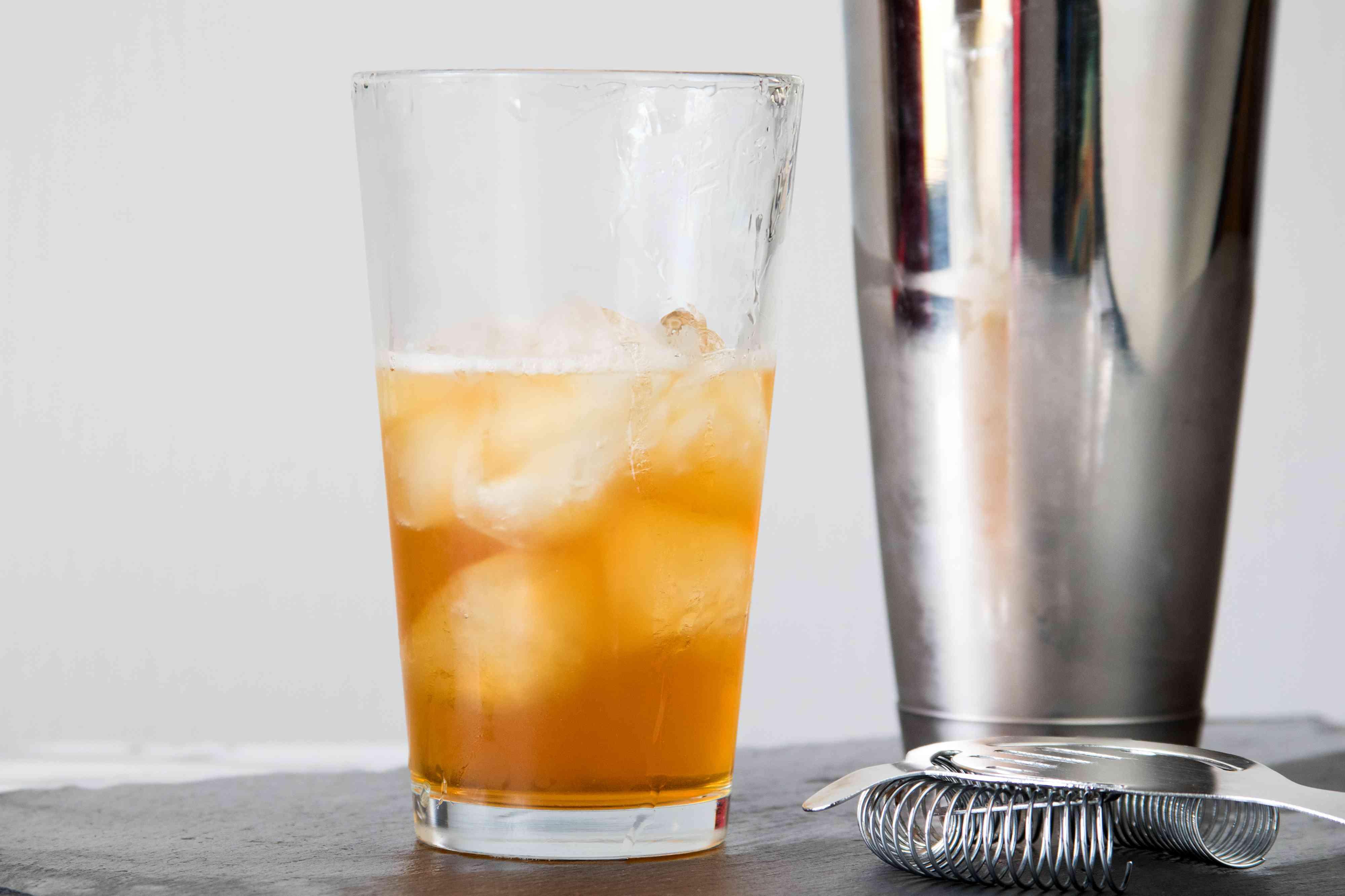 Shaking a Classic Brandy Metropolitan Cocktail