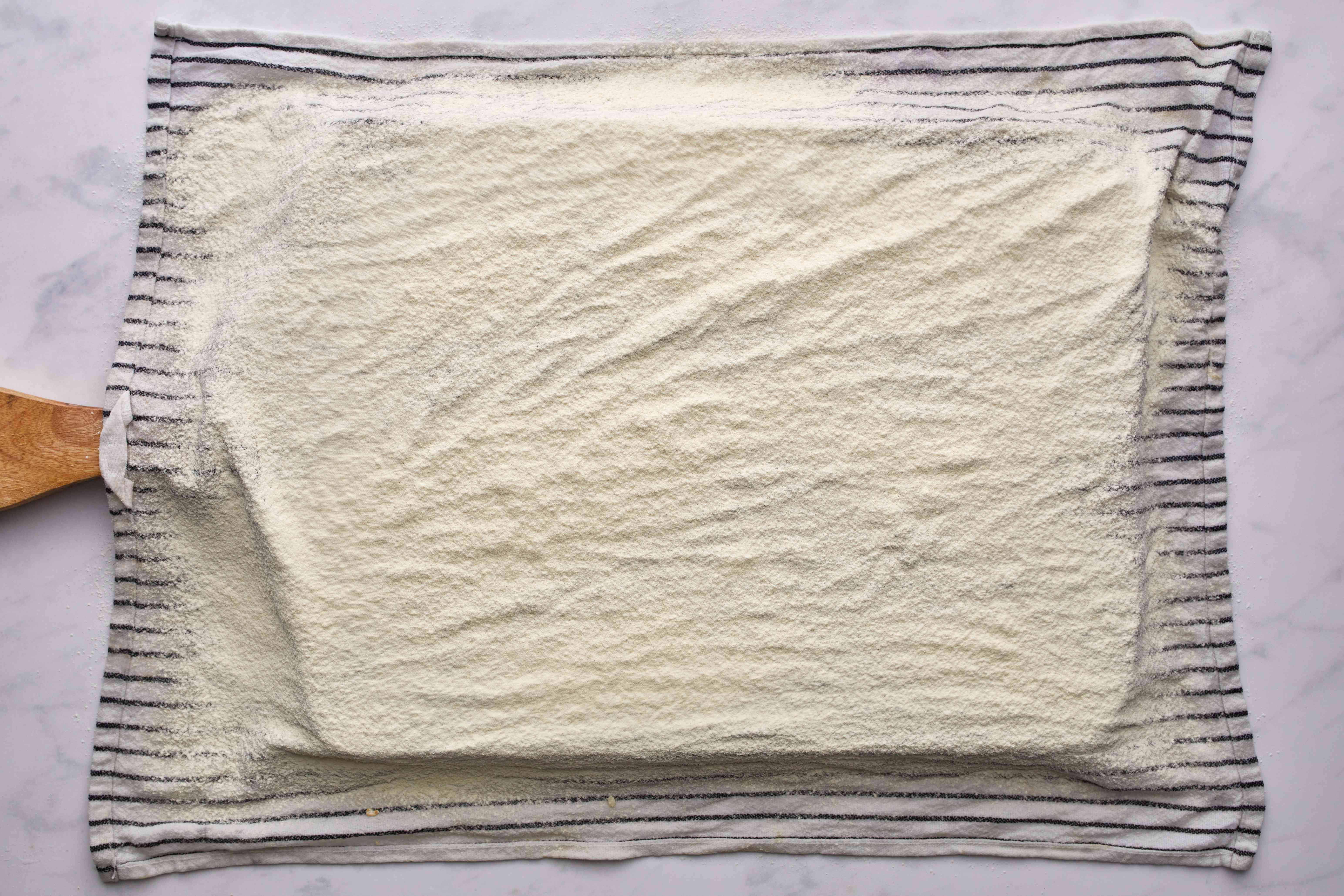 clootie cloth with flour on top