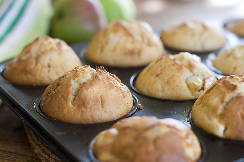 Freshly home baked apple muffins