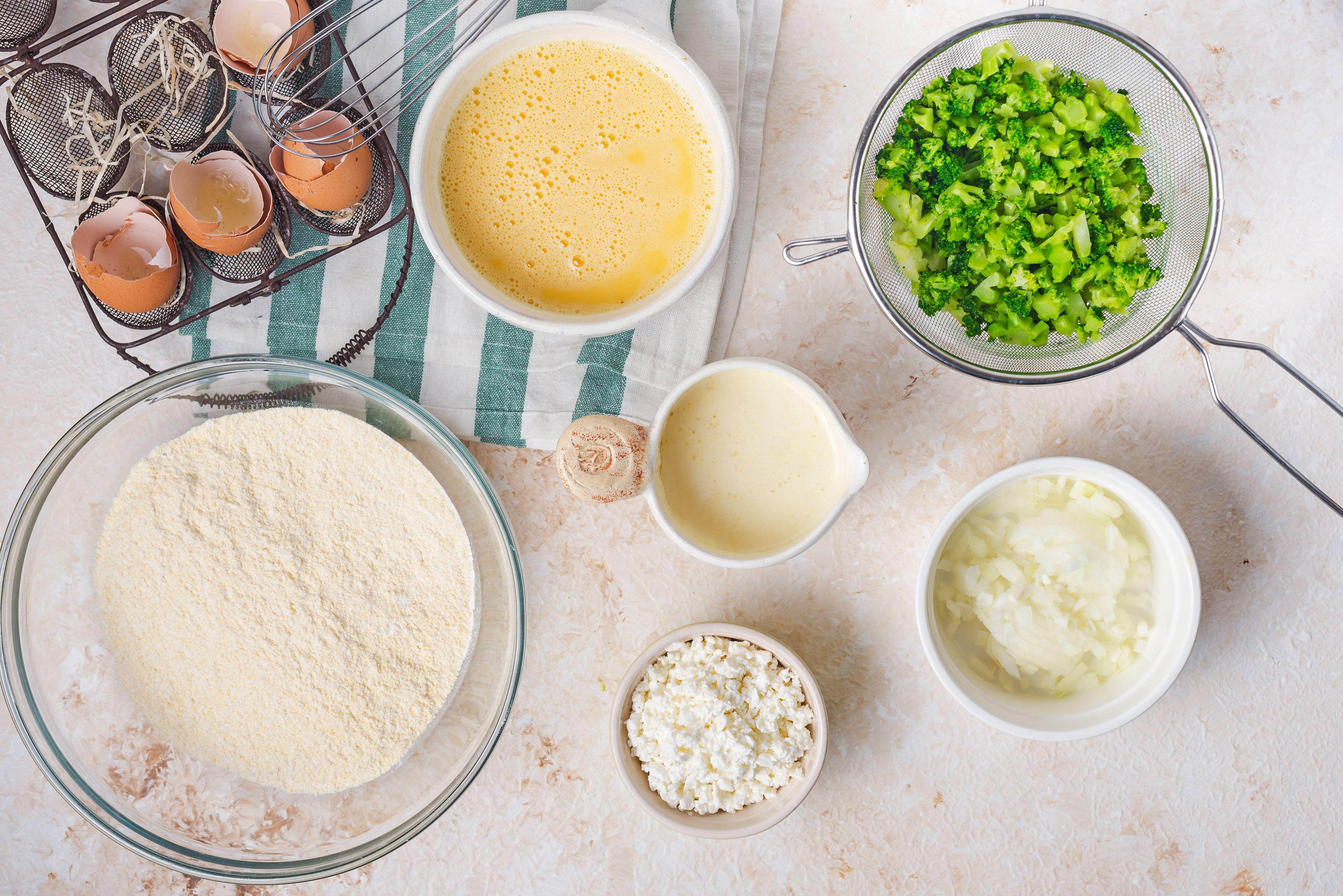 Ingredients for broccoli cornbread