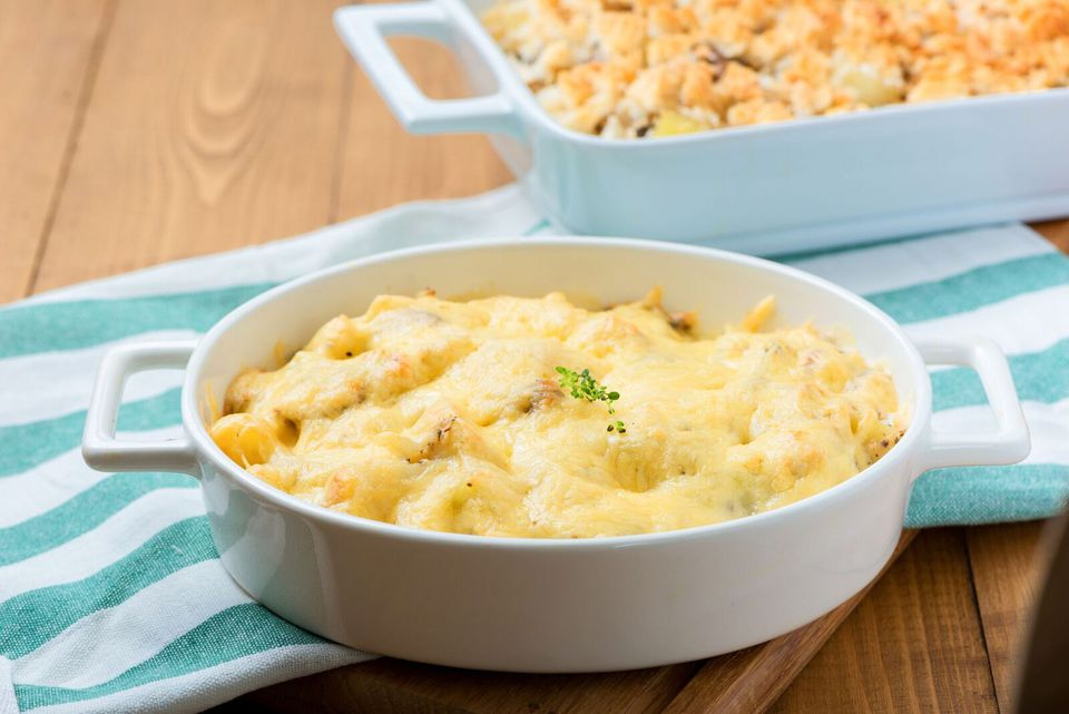 Leftover chicken casserole in baking dishes