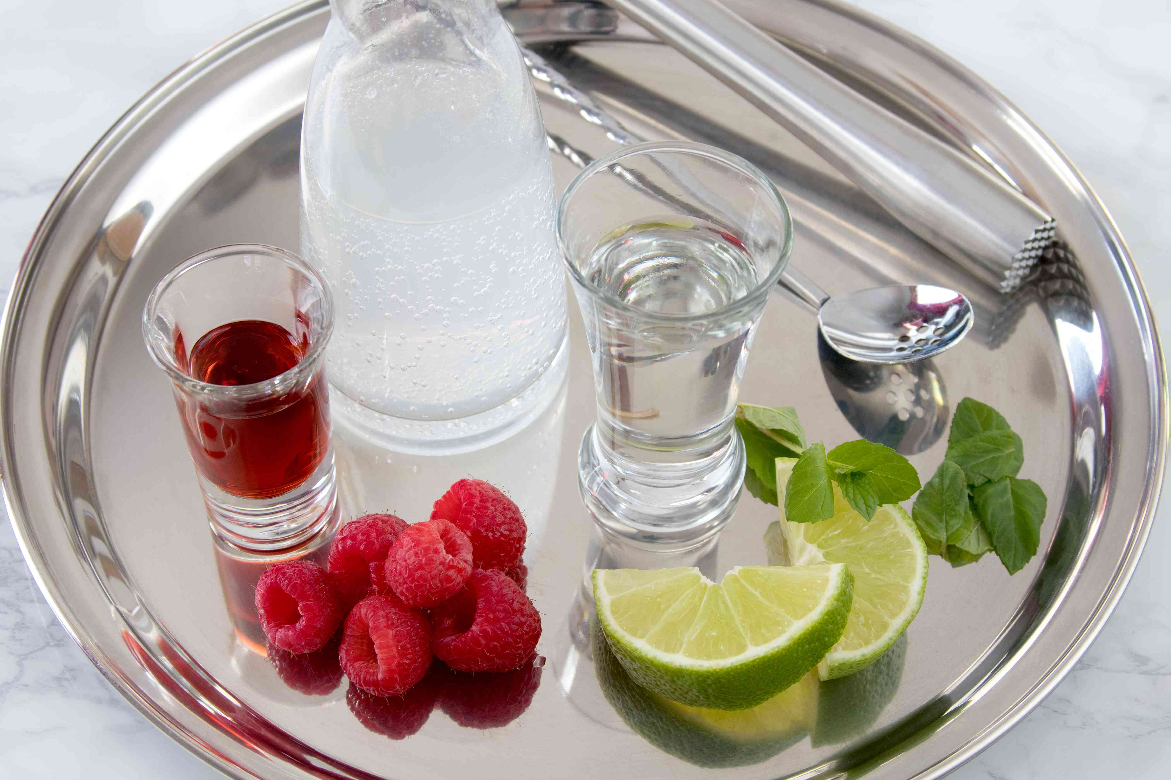Ingredients for a Raspberry Mojito Cocktail