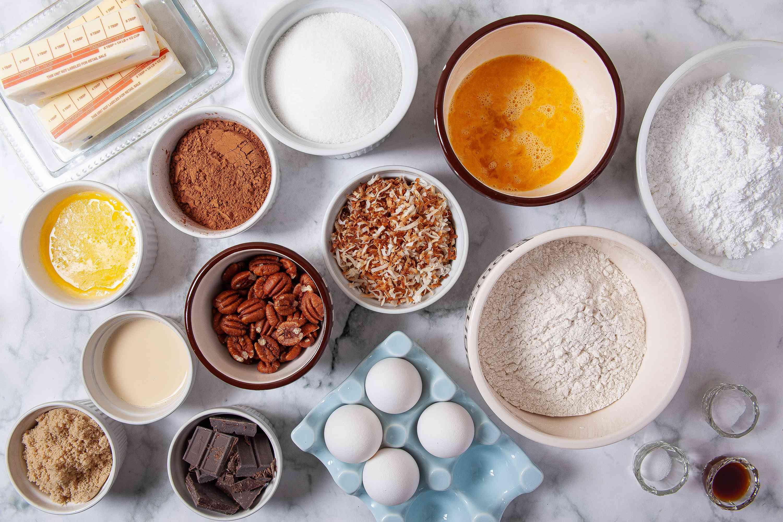 Ingredients for German chocolate cupcakes