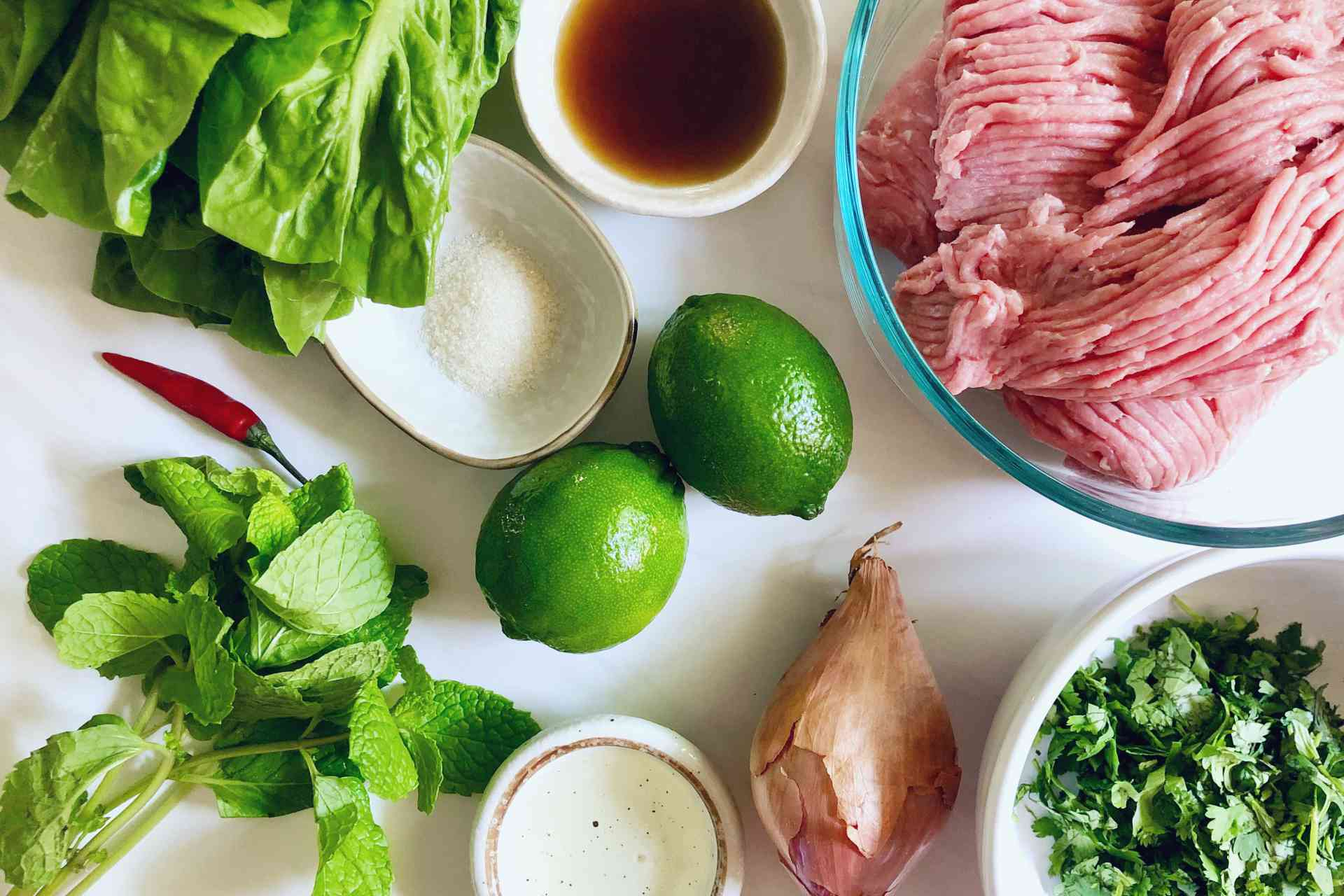 Ingredients for Thai-inspired turkey lettuce wraps