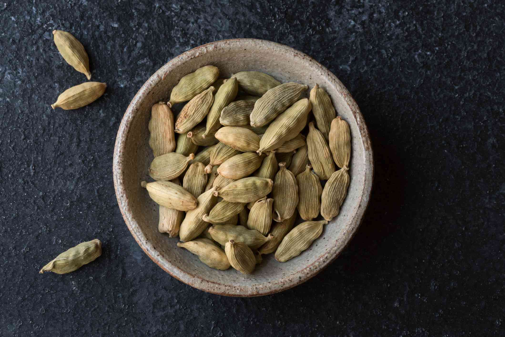 Directly Above Shot Of Cardamoms In Bowl On Table