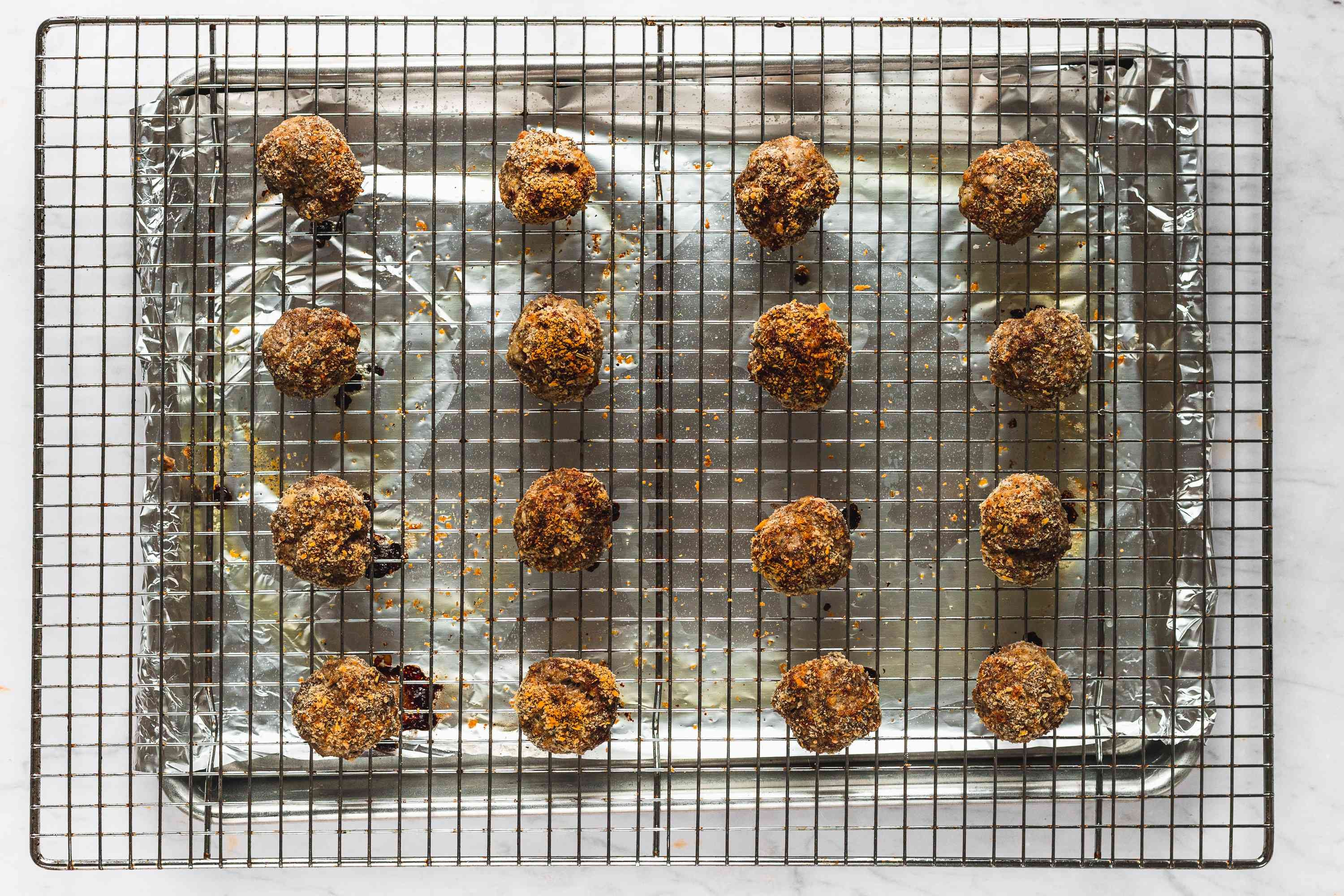 Simply Perfect Meatballs on a cooling rack