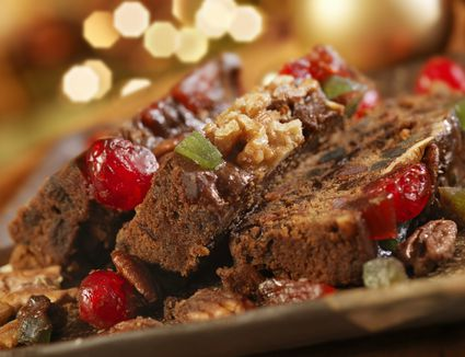 Fruit Cake at Christmas with fruits and nuts