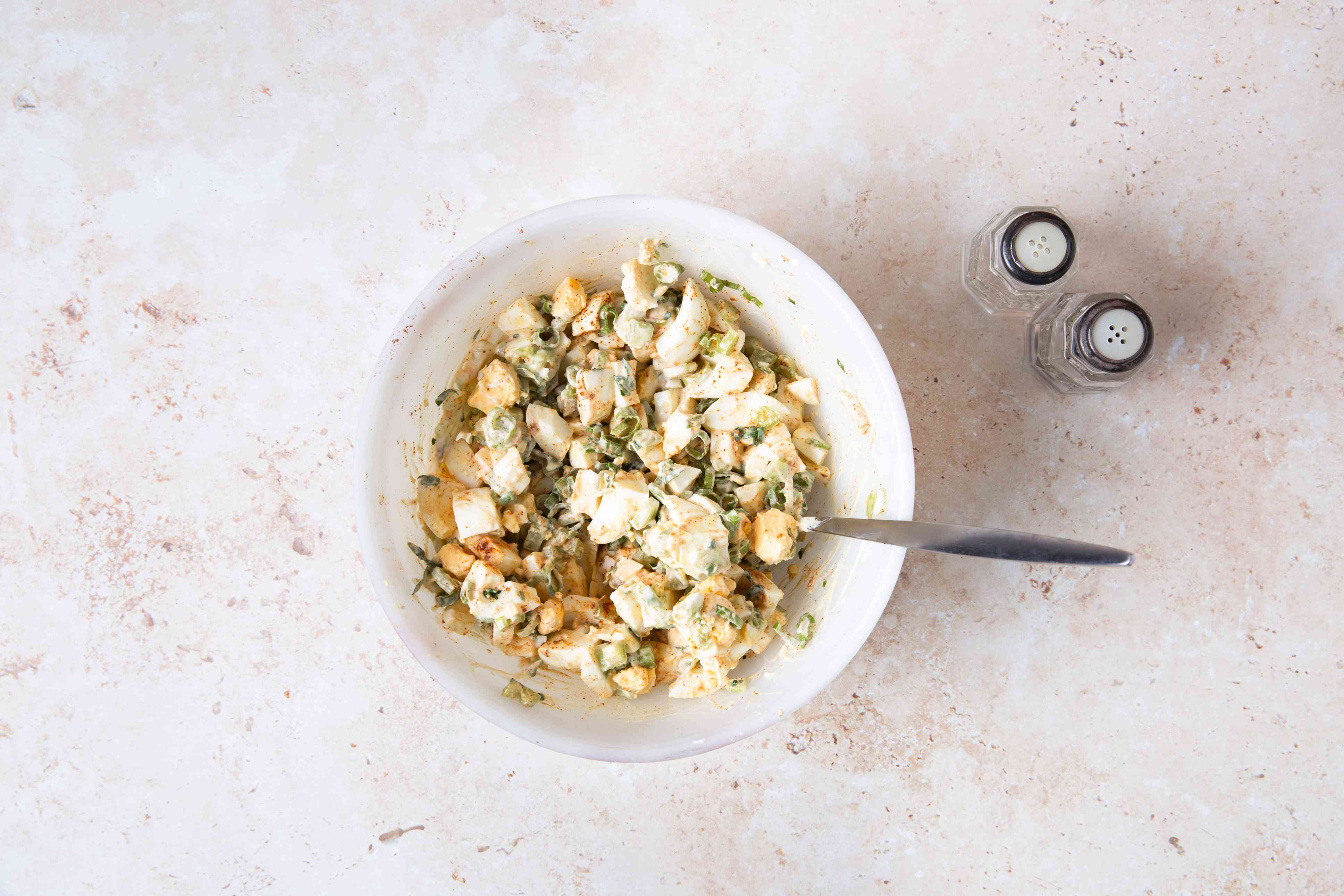 Creamy Egg Salad (Without Mayo) in a bowl