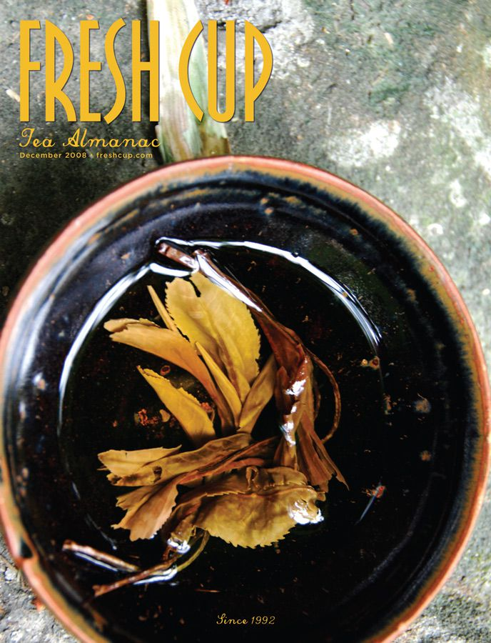 A Fresh Cup Magazine cover featuring tealeaves