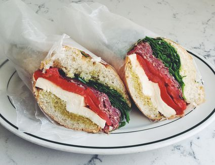 Roasted red pepper Italian sandwich with salami, mozzarella and roasted red peppers