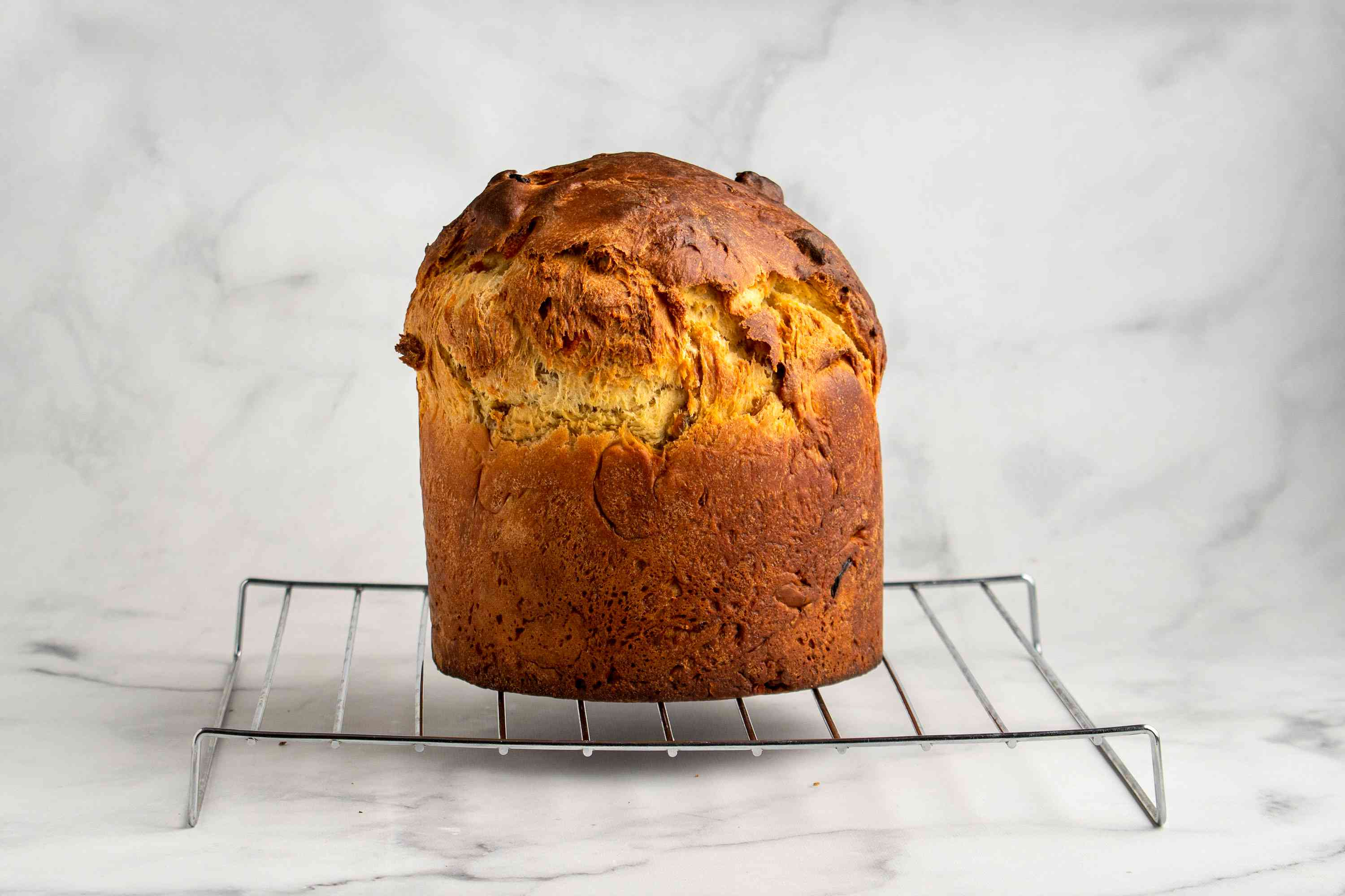 Russian Easter bread loaf cooling on a cooling rack