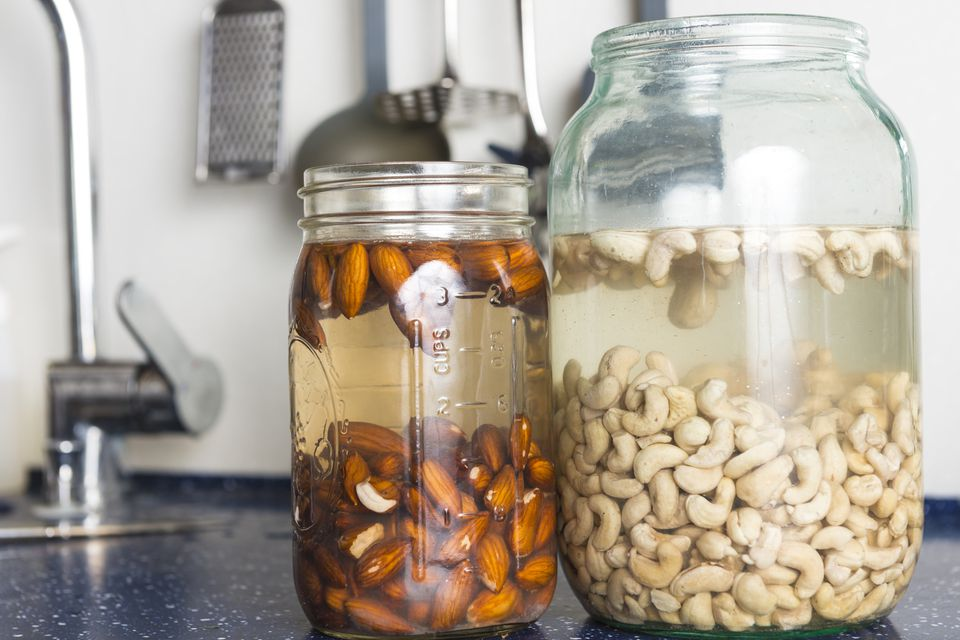 nuts soaking in jars