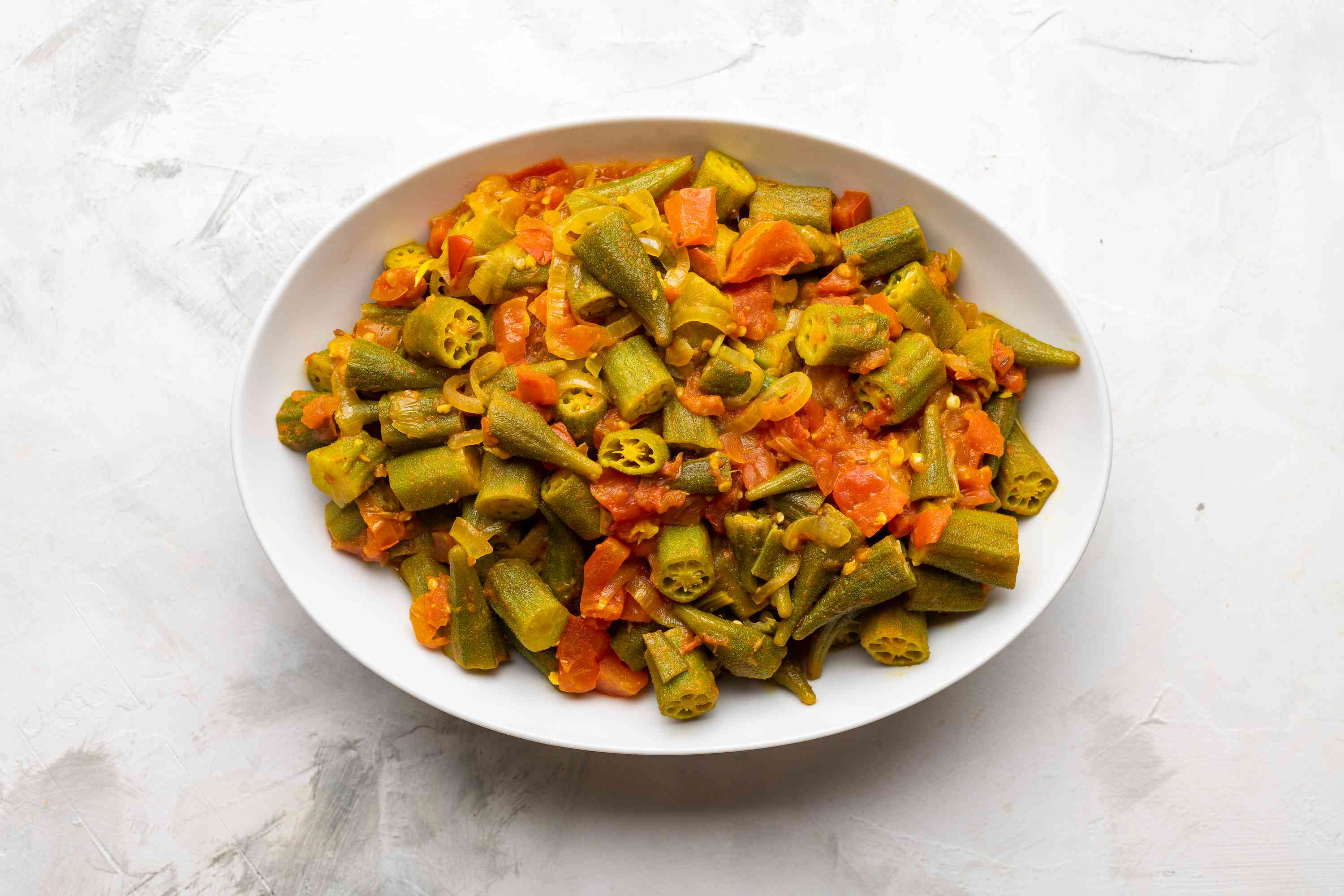 Spicy Okra and Tomatoes on a platter