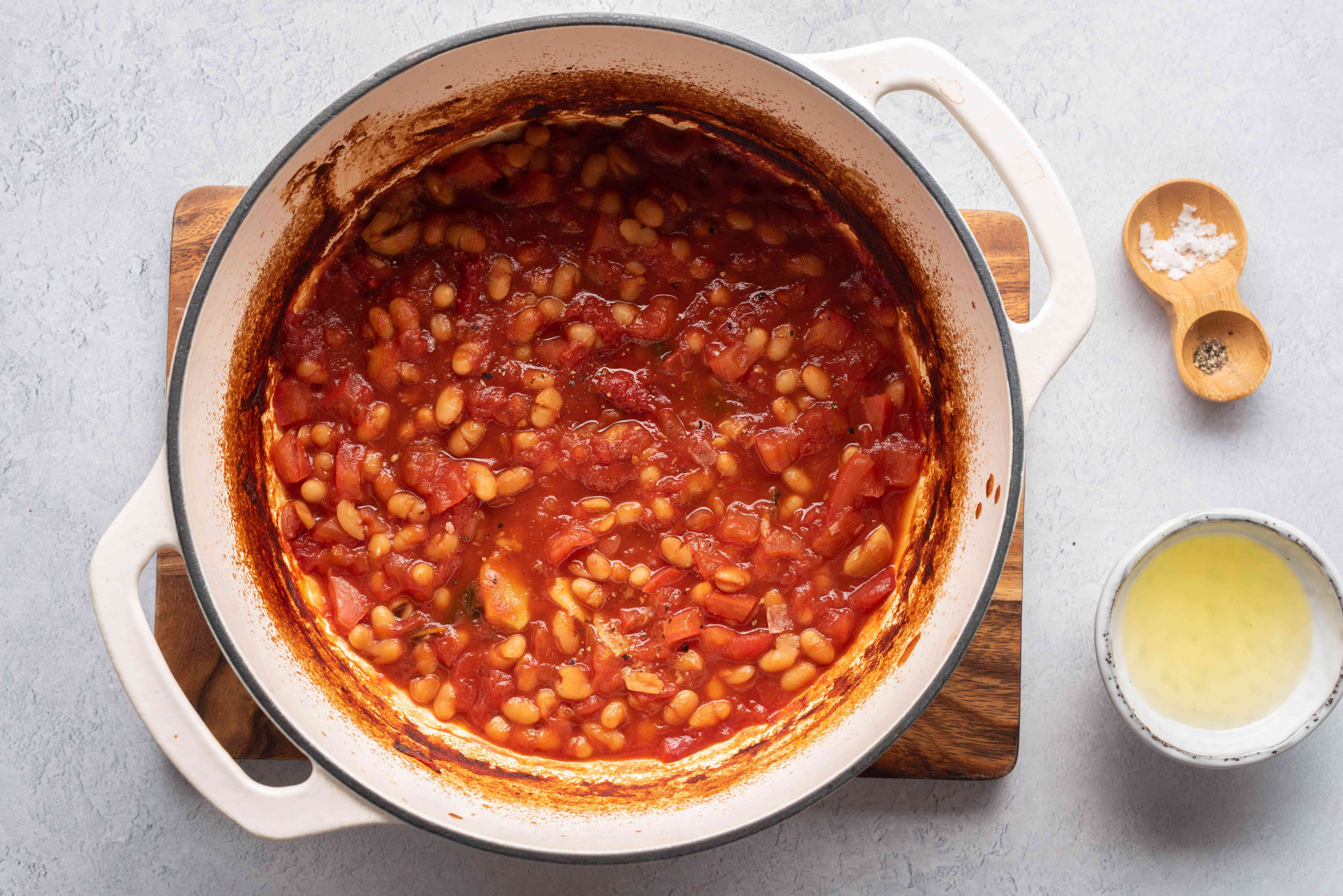 Homemade Irish Baked Beans in a pot