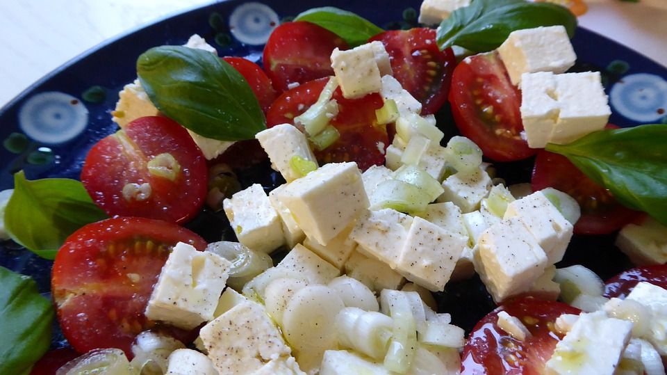Feta cheese on Greek salad