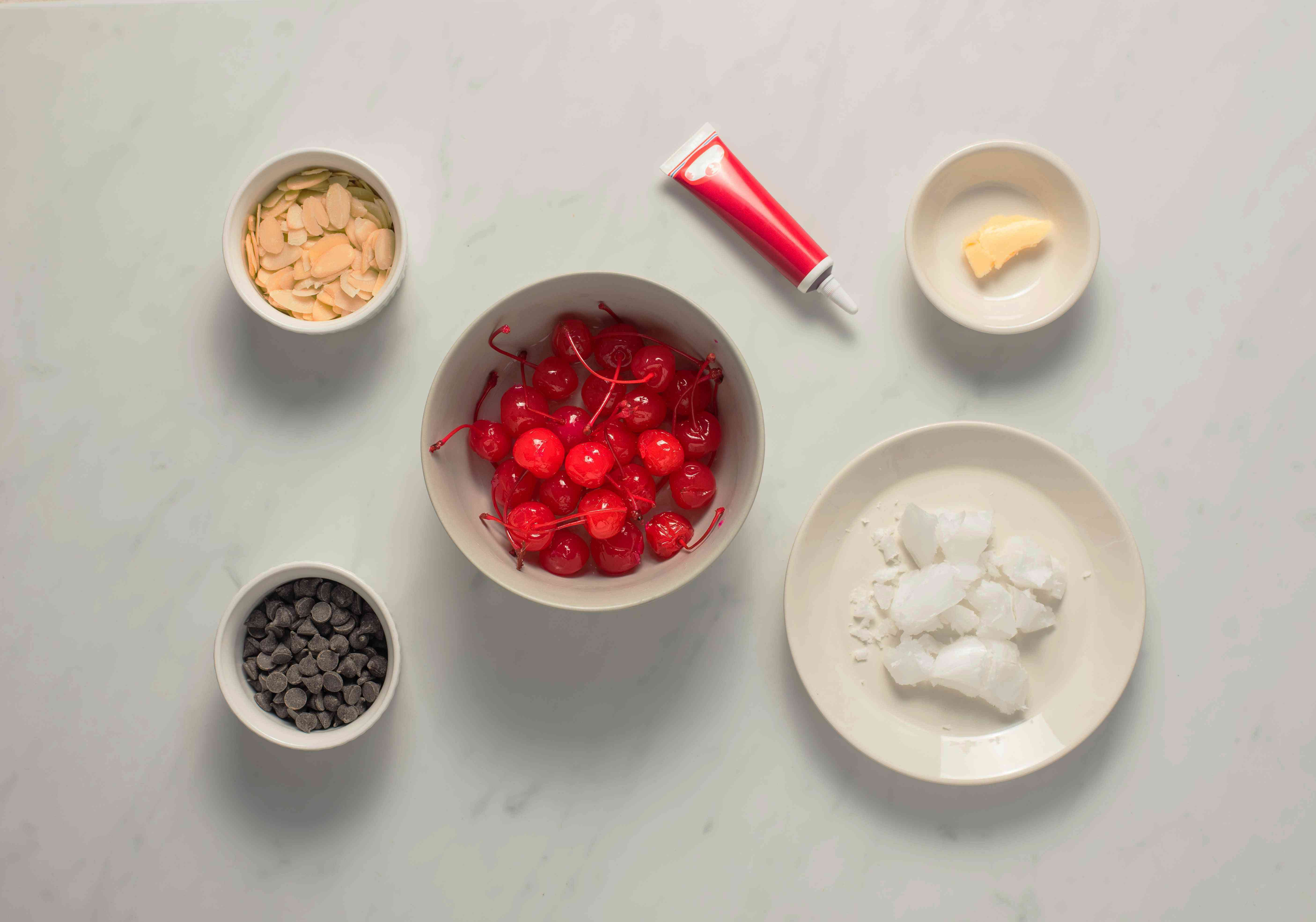 Ingredients for chocolate covered cherry mice